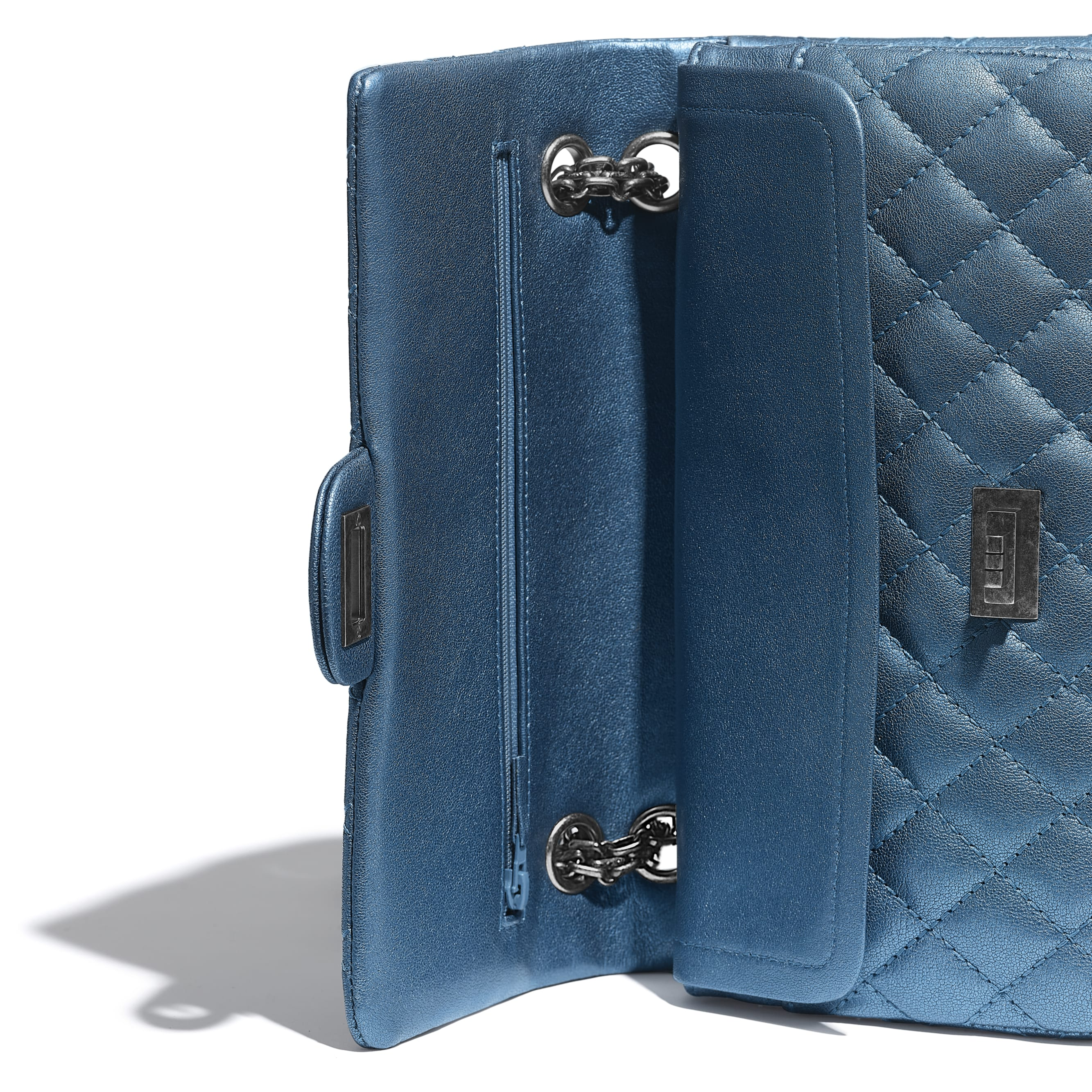2.55 Handbag - Blue - Metallic Sheepskin & Ruthenium-Finish Metal - Extra view - see standard sized version