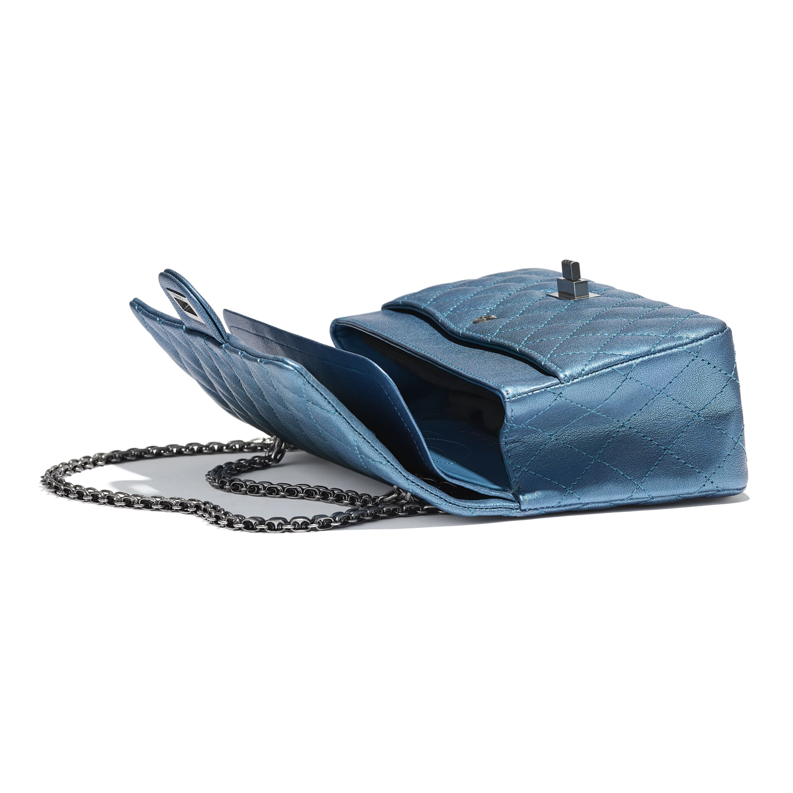 2.55 Handbag - Blue - Metallic Sheepskin & Ruthenium-Finish Metal - Other view - see standard sized version