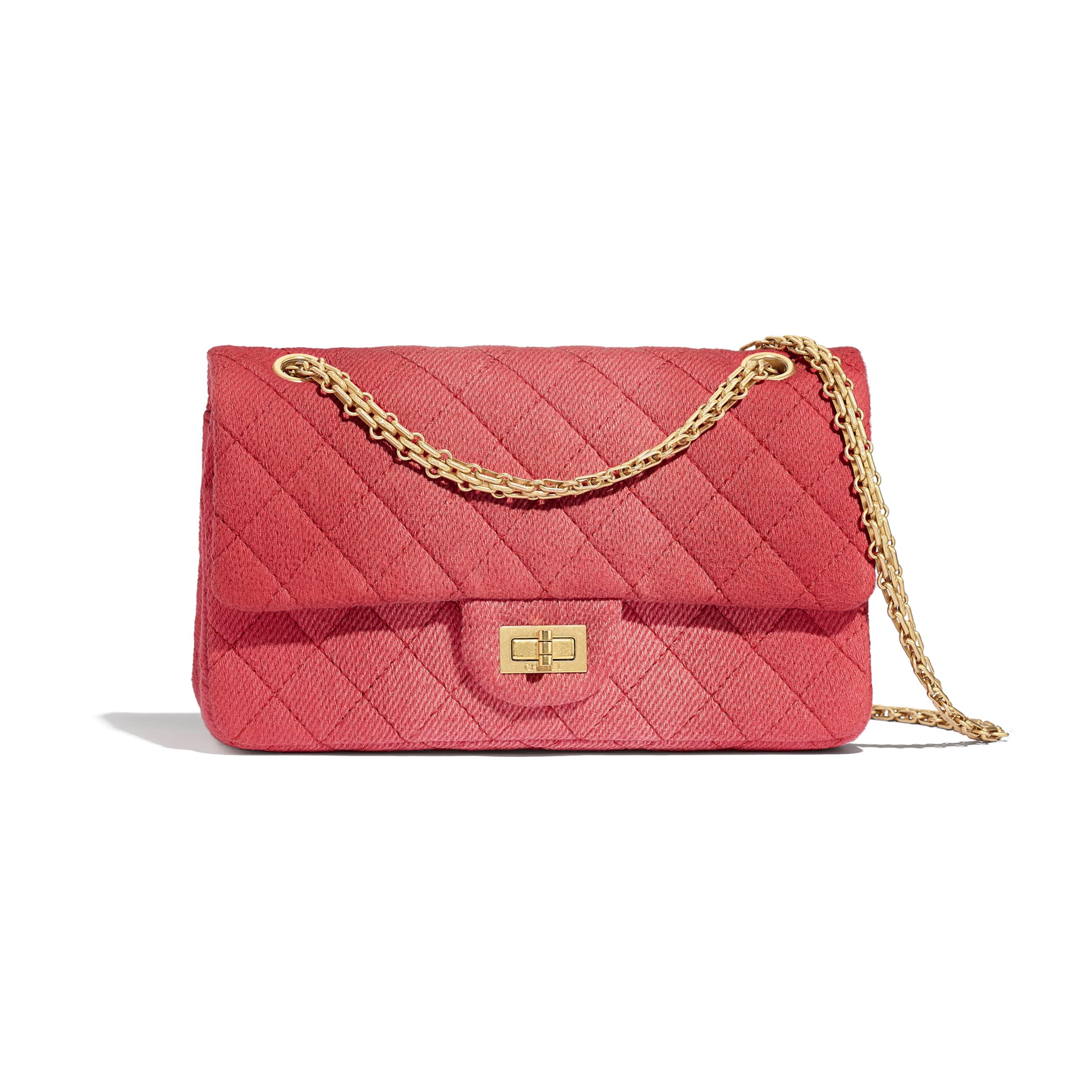 2.55 Handbag - Coral - Denim & Gold Metal - CHANEL - Default view - see standard sized version