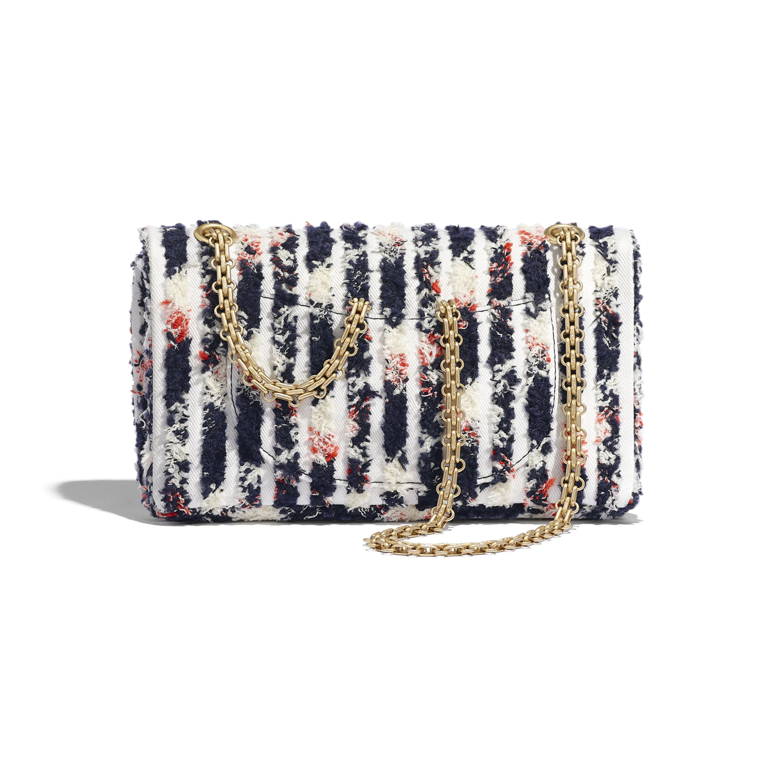 2.55 Handbag - Ecru, Navy Blue, Orange & White - Wool Tweed, Denim & Gold-Tone Metal - Alternative view - see standard sized version