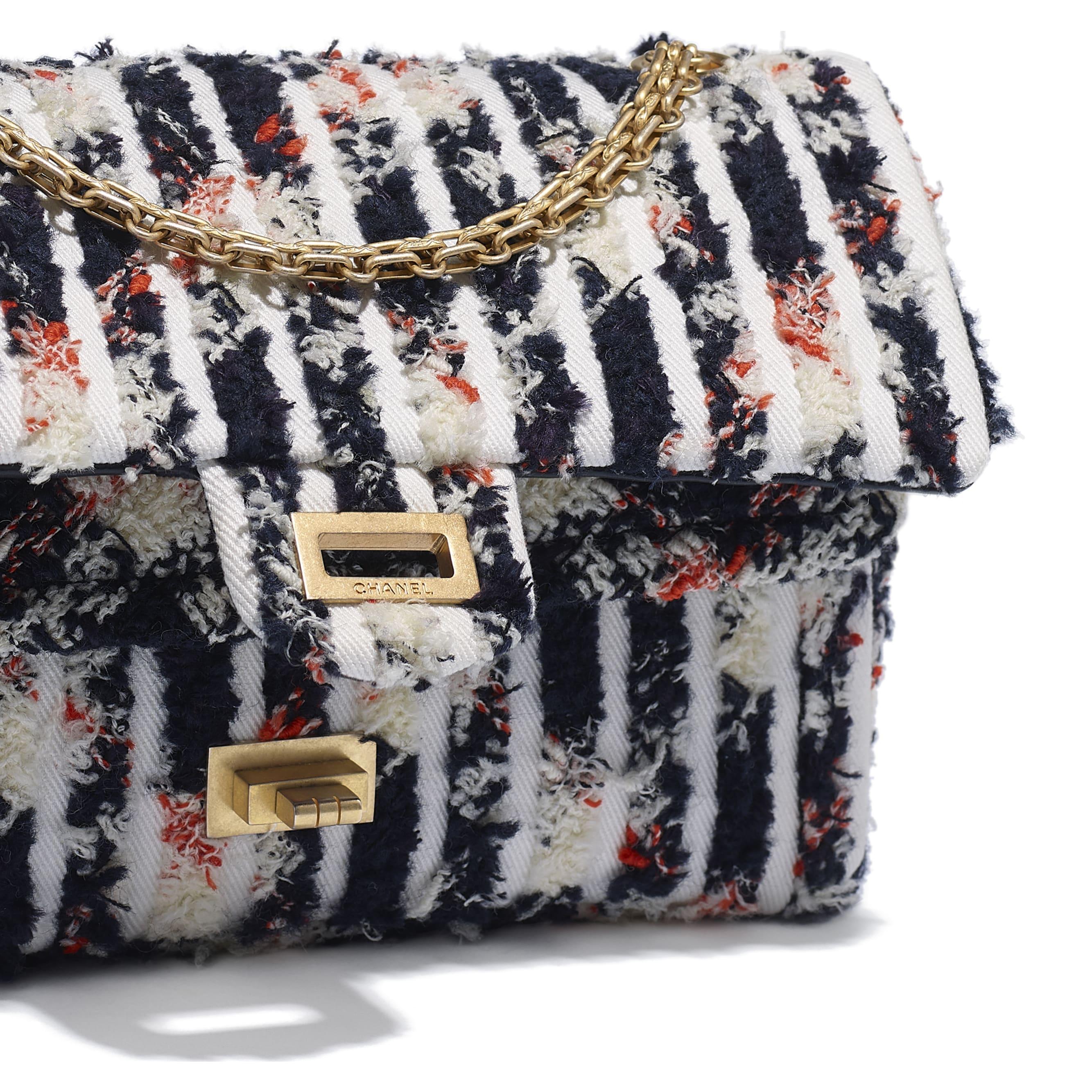 2.55 Handbag - Ecru, Navy Blue, Orange & White - Wool Tweed, Denim & Gold-Tone Metal - Extra view - see standard sized version
