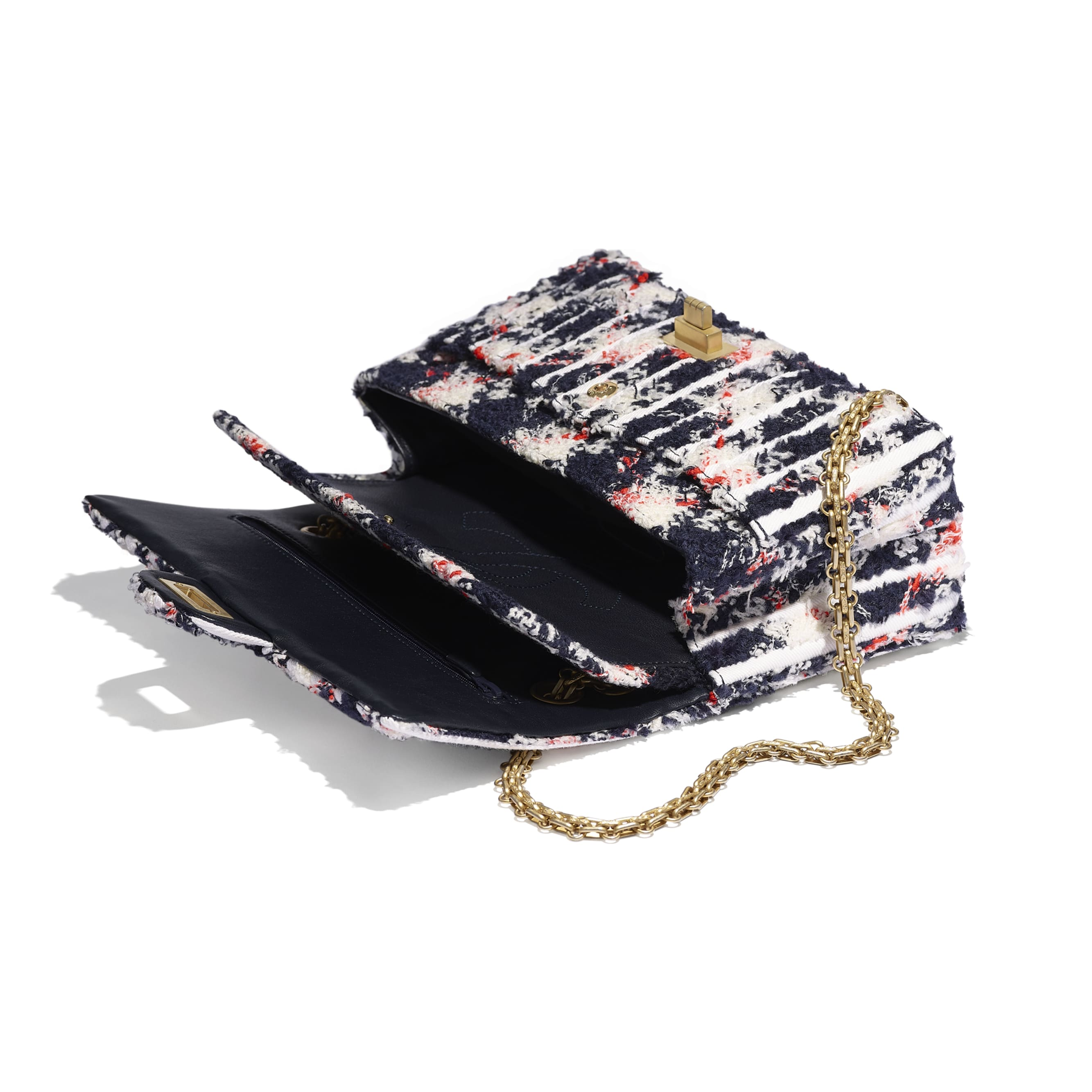 2.55 Handbag - Ecru, Navy Blue, Orange & White - Wool Tweed, Denim & Gold-Tone Metal - Other view - see standard sized version