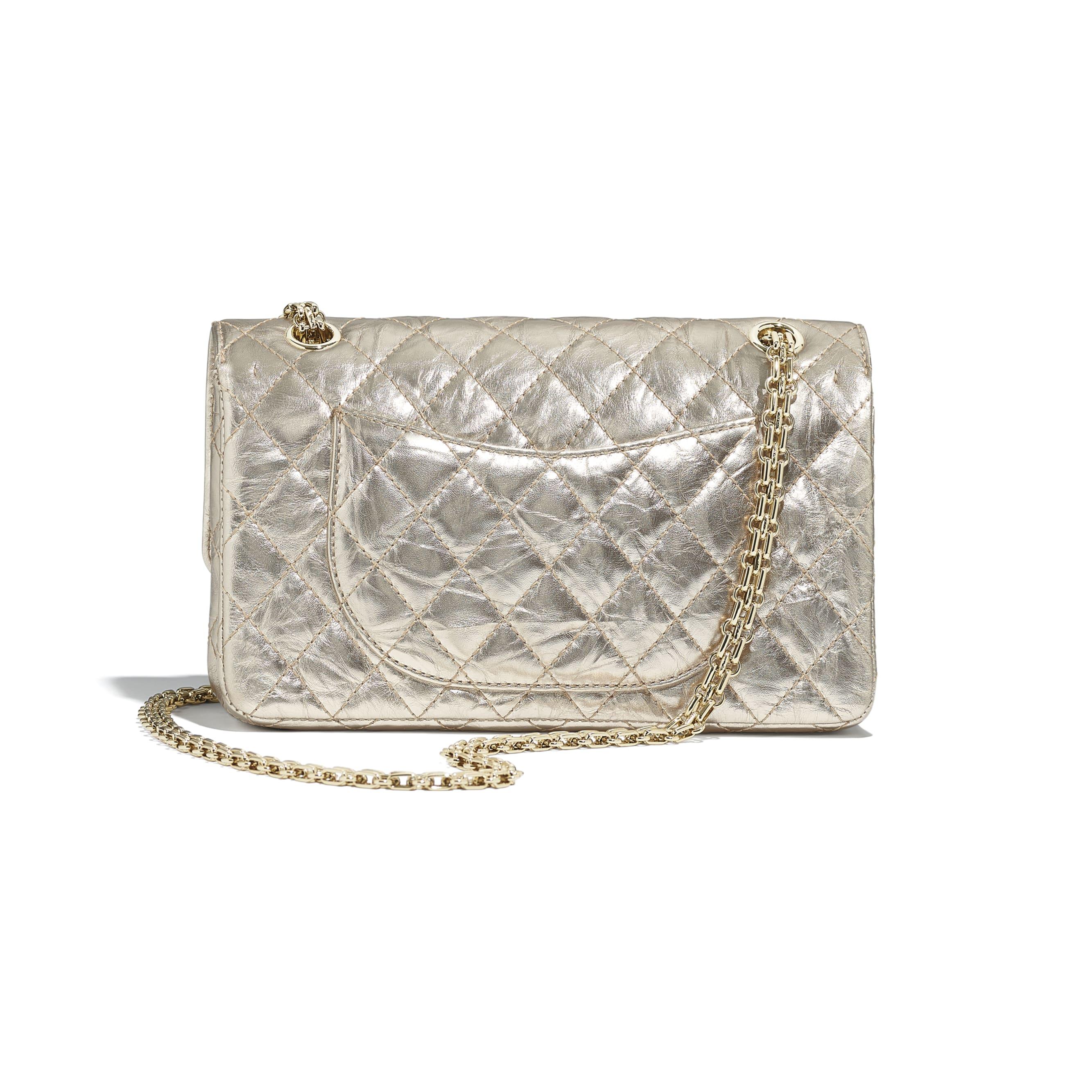 2.55 Handbag - Light Gold - Metallic Crumpled Calfskin & Gold-Tone Metal - CHANEL - Alternative view - see standard sized version