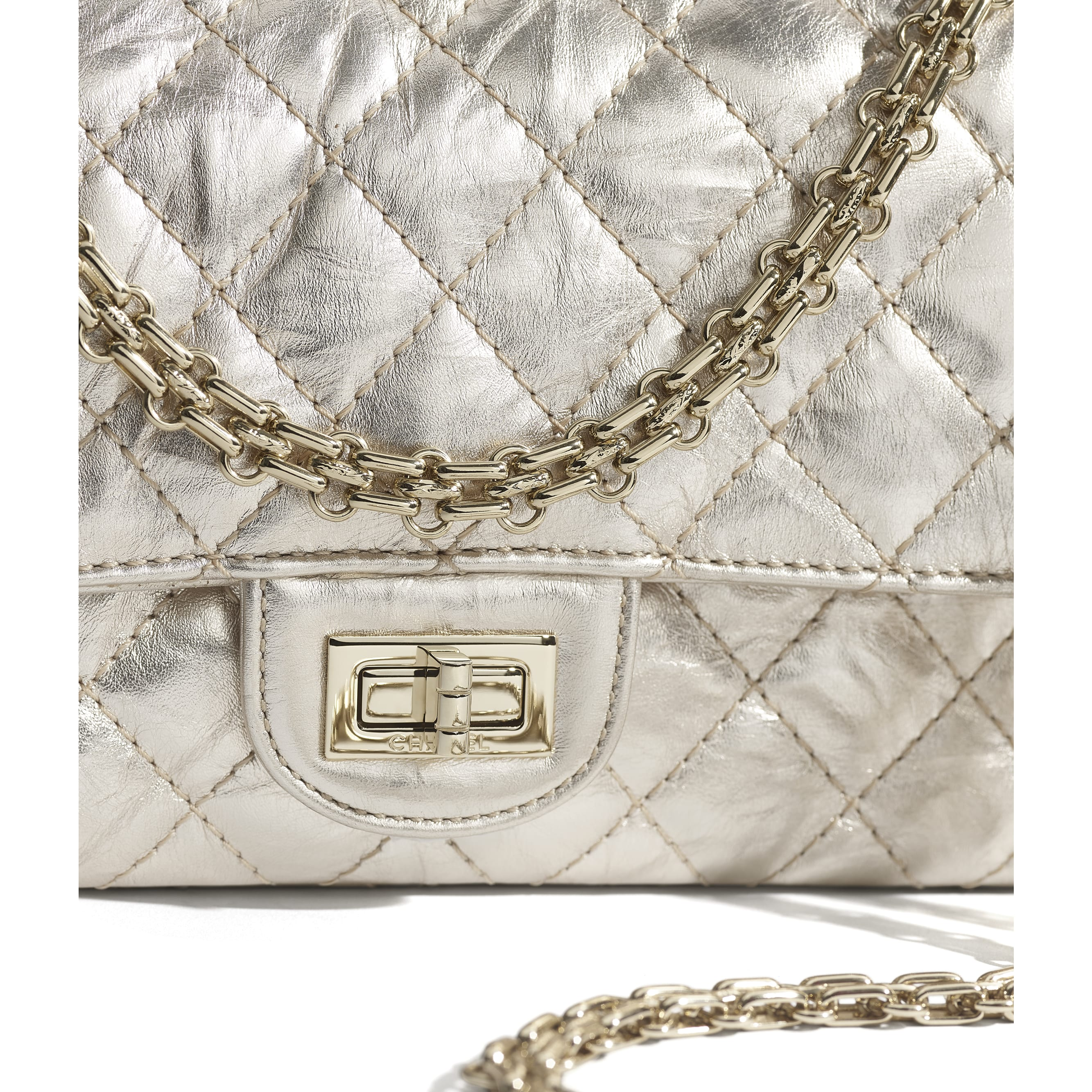 2.55 Handbag - Light Gold - Metallic Crumpled Calfskin & Gold-Tone Metal - CHANEL - Extra view - see standard sized version