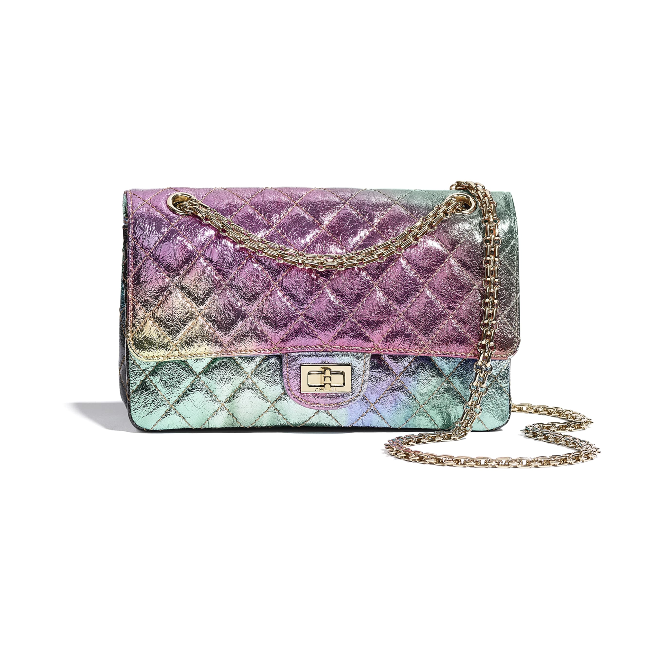 2.55 Handbag - Multicolour - Metallic Goatskin & Gold-Tone Metal - CHANEL - Default view - see standard sized version