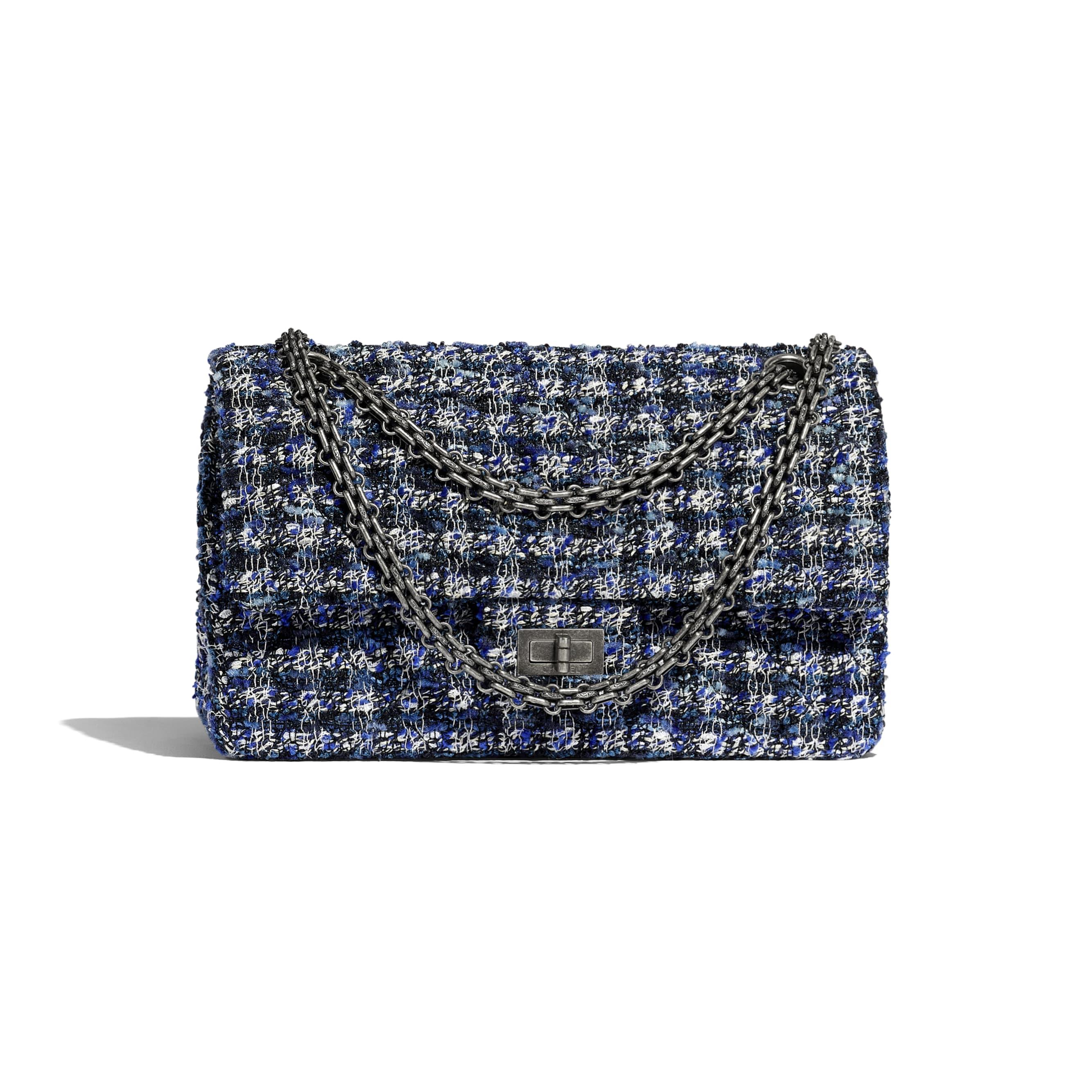2.55 Handbag - Navy Blue, Blue, Ecru & Black - Tweed & Ruthenium-Finish Metal - CHANEL - Default view - see standard sized version