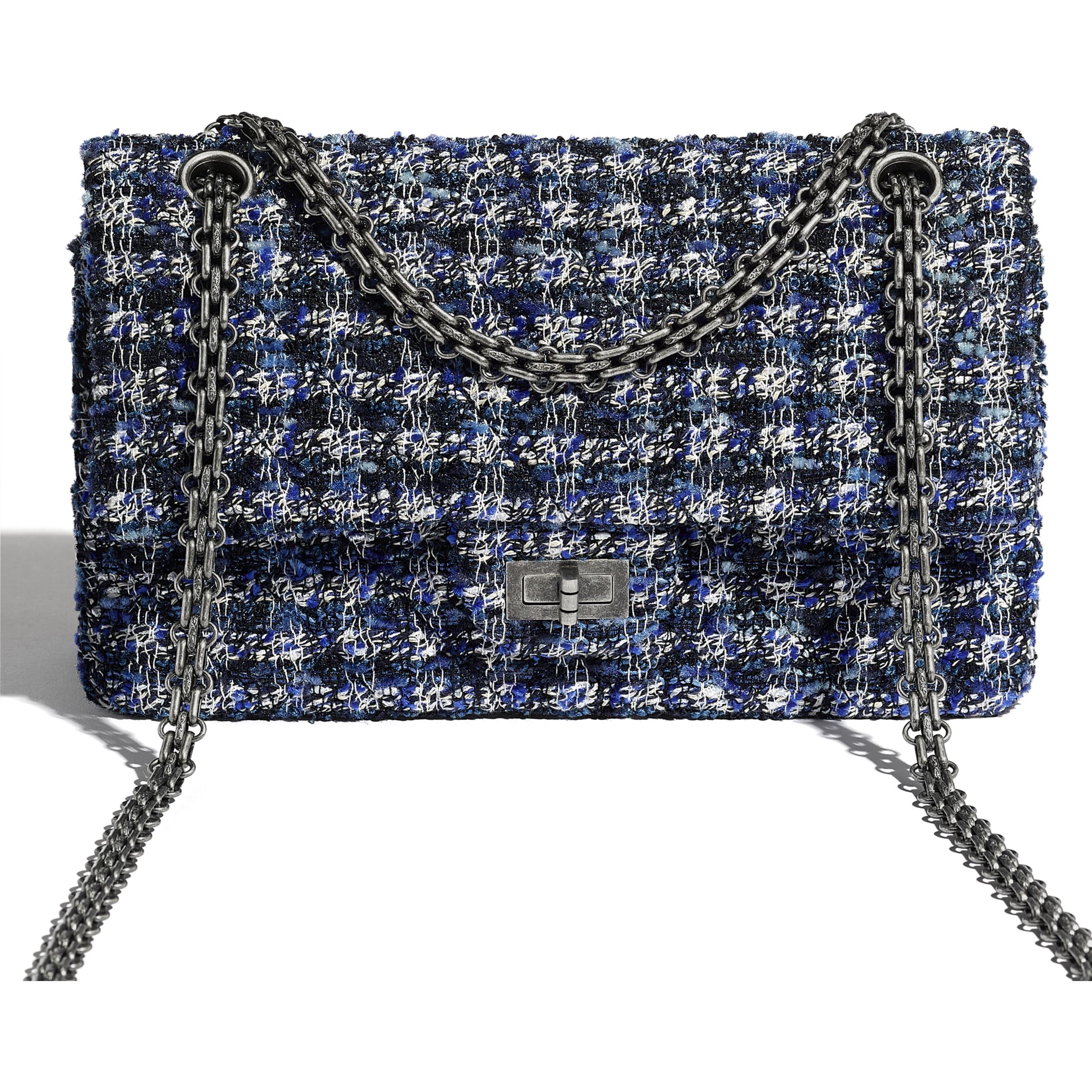 2.55 Handbag - Navy Blue, Blue, Ecru & Black - Tweed & Ruthenium-Finish Metal - CHANEL - Extra view - see standard sized version