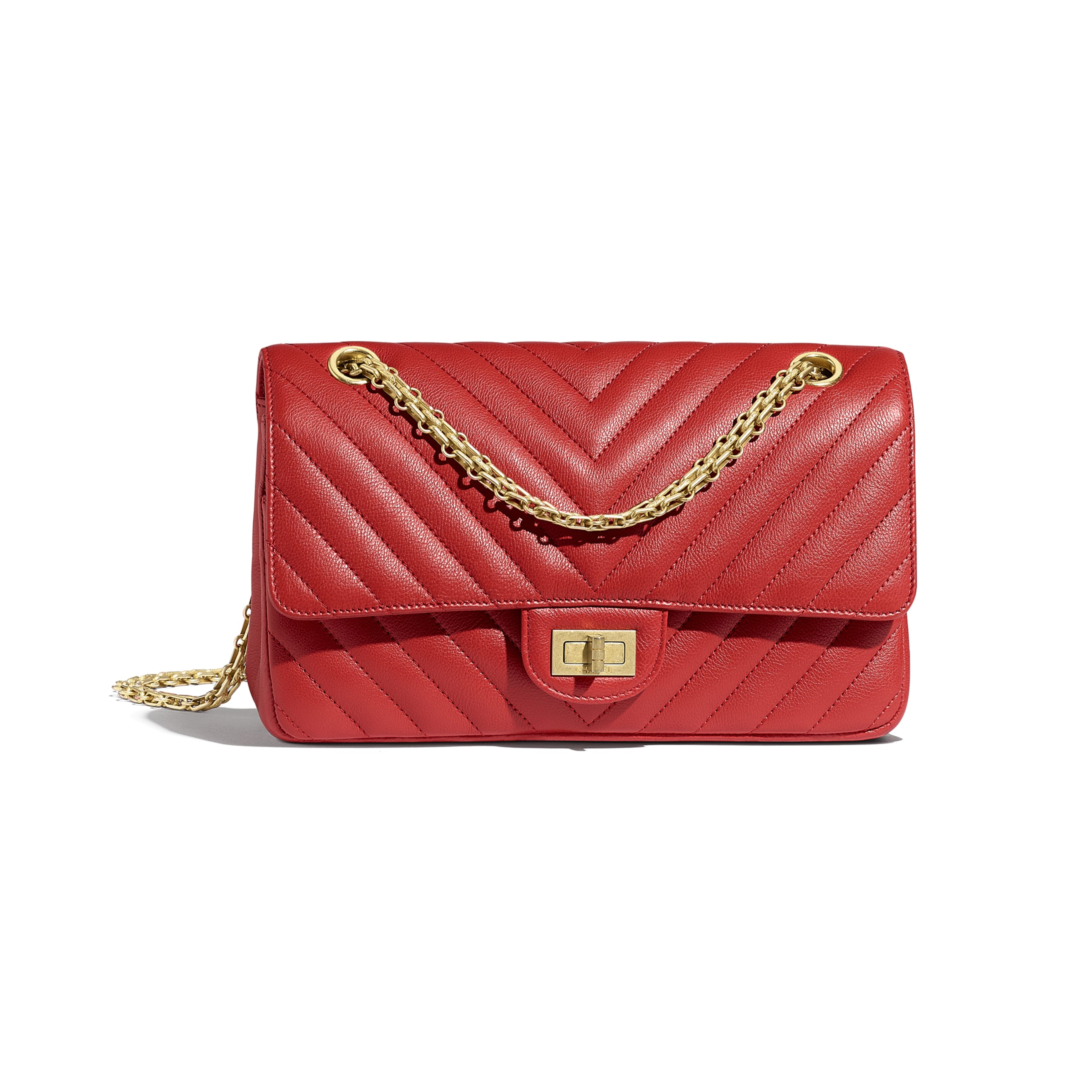 2.55 Handbag - Red - Grained Calfskin & Gold-Tone Metal - CHANEL - Default view - see standard sized version