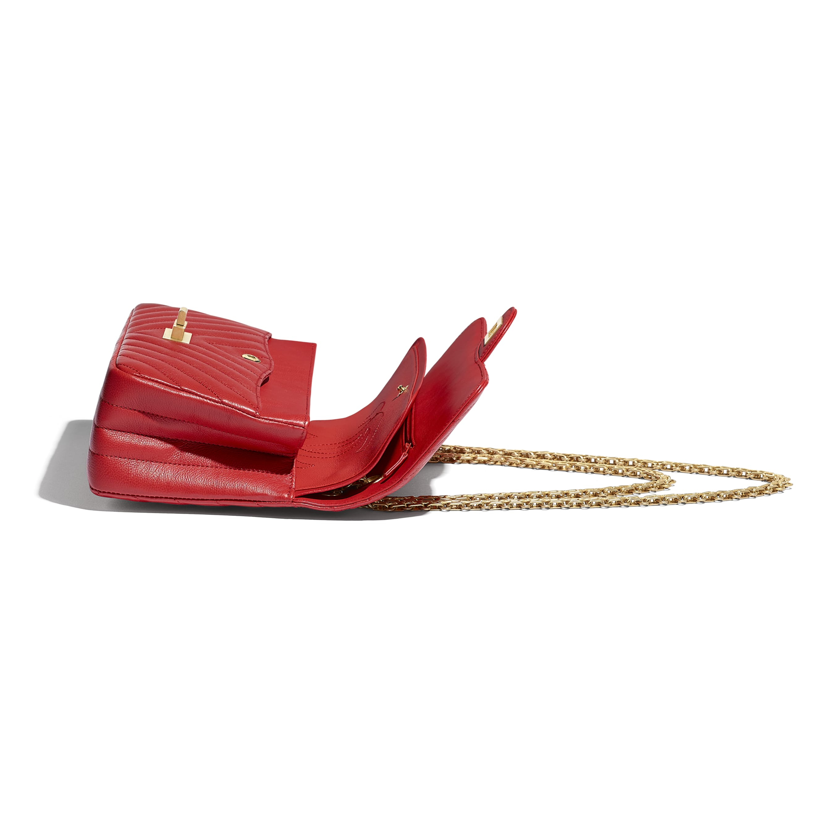 2.55 Handbag - Red - Grained Calfskin & Gold-Tone Metal - CHANEL - Other view - see standard sized version
