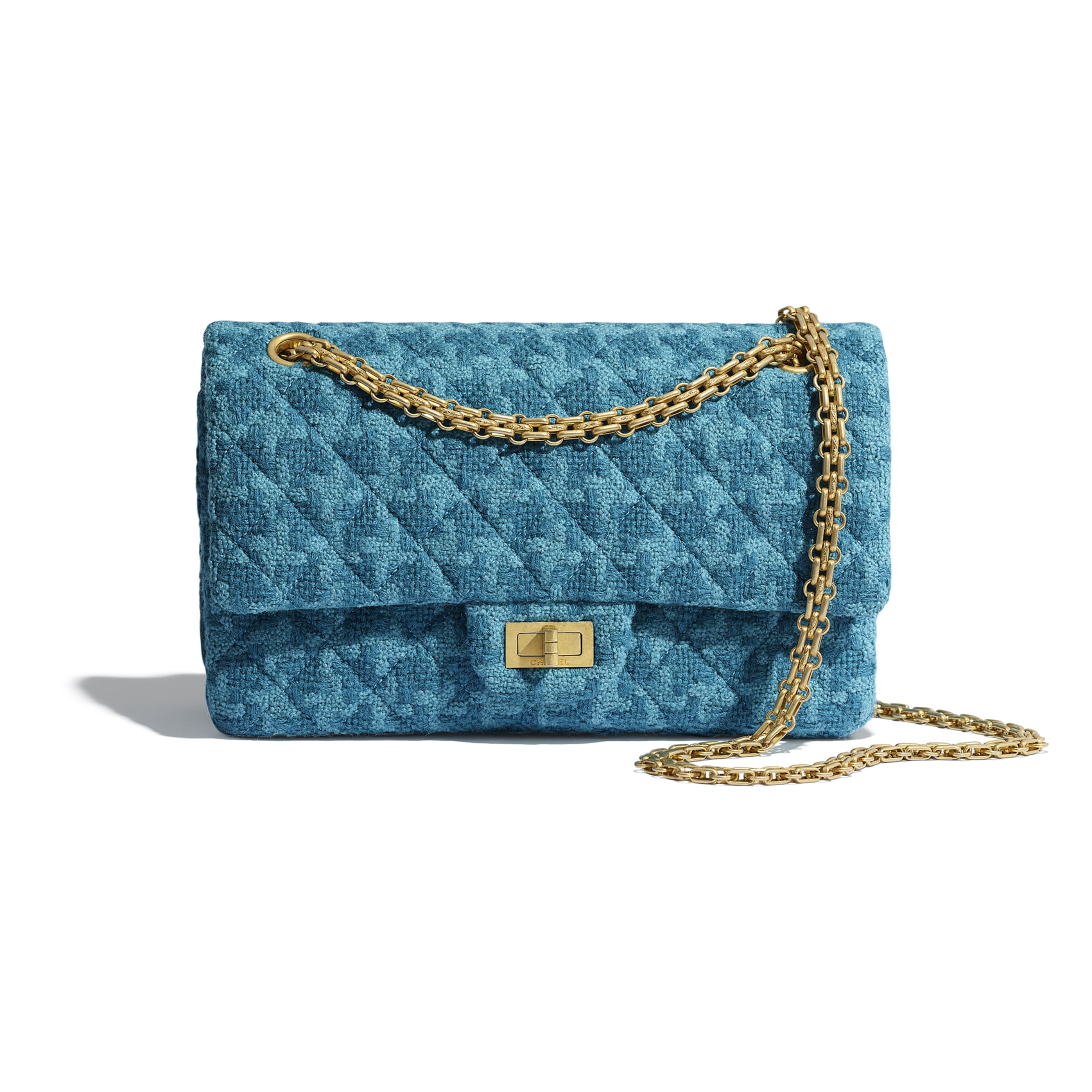 2.55 Handbag - Turquoise - Wool Tweed & Gold-Tone Metal - CHANEL - Default view - see standard sized version