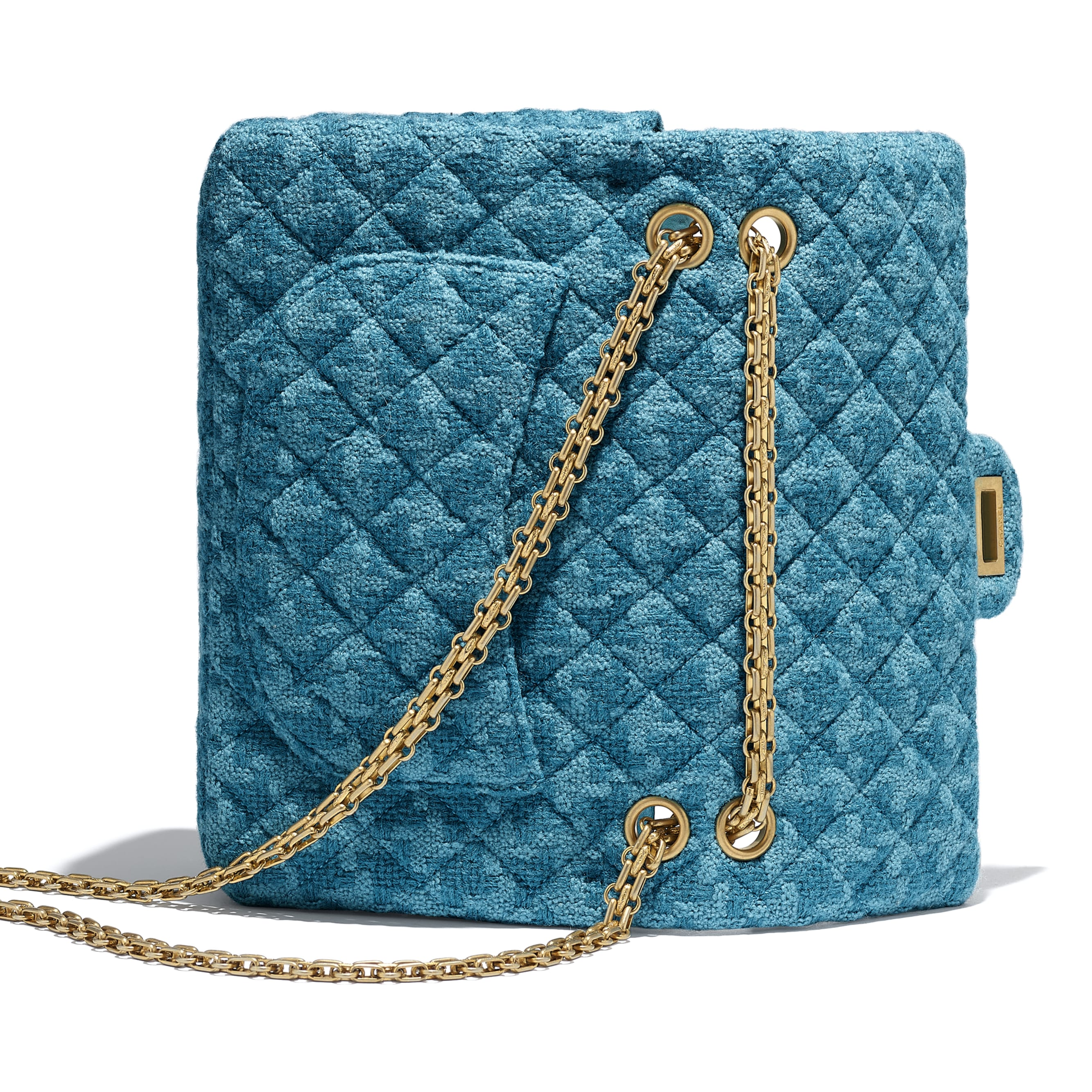 2.55 Handbag - Turquoise - Wool Tweed & Gold-Tone Metal - CHANEL - Extra view - see standard sized version