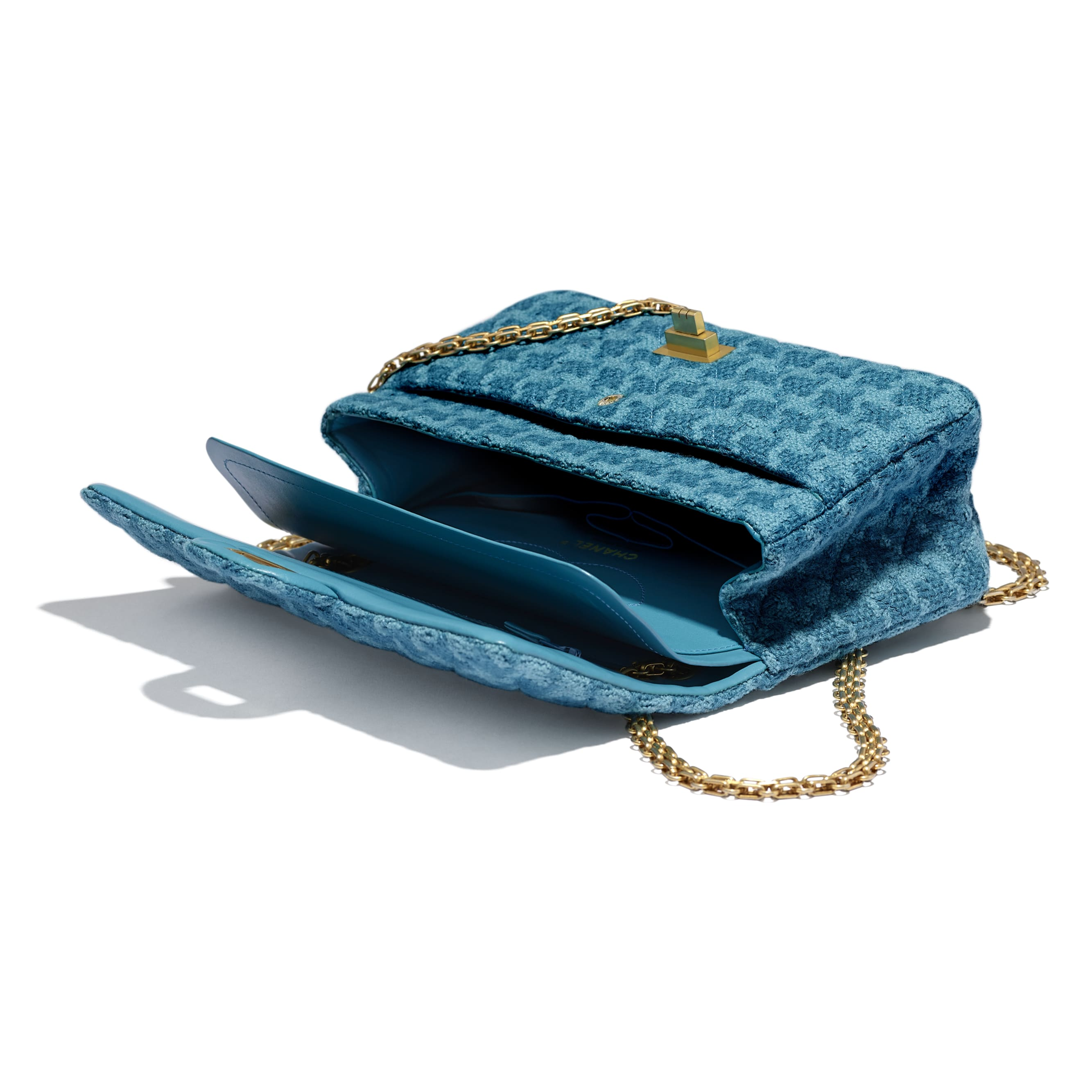 2.55 Handbag - Turquoise - Wool Tweed & Gold-Tone Metal - CHANEL - Other view - see standard sized version