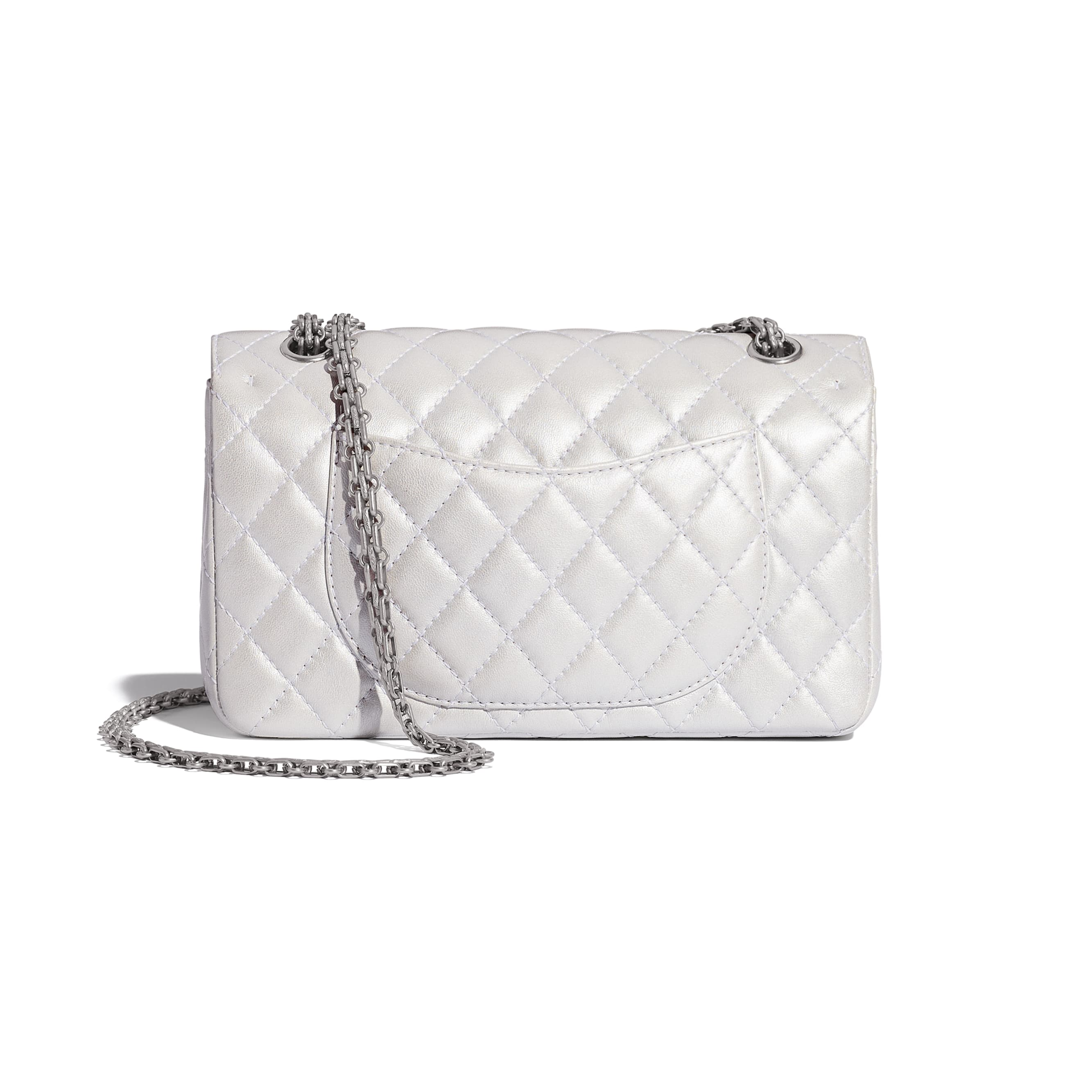 2.55 Handbag - White - Iridescent Lambskin & Silver-Tone Metal - CHANEL - Alternative view - see standard sized version