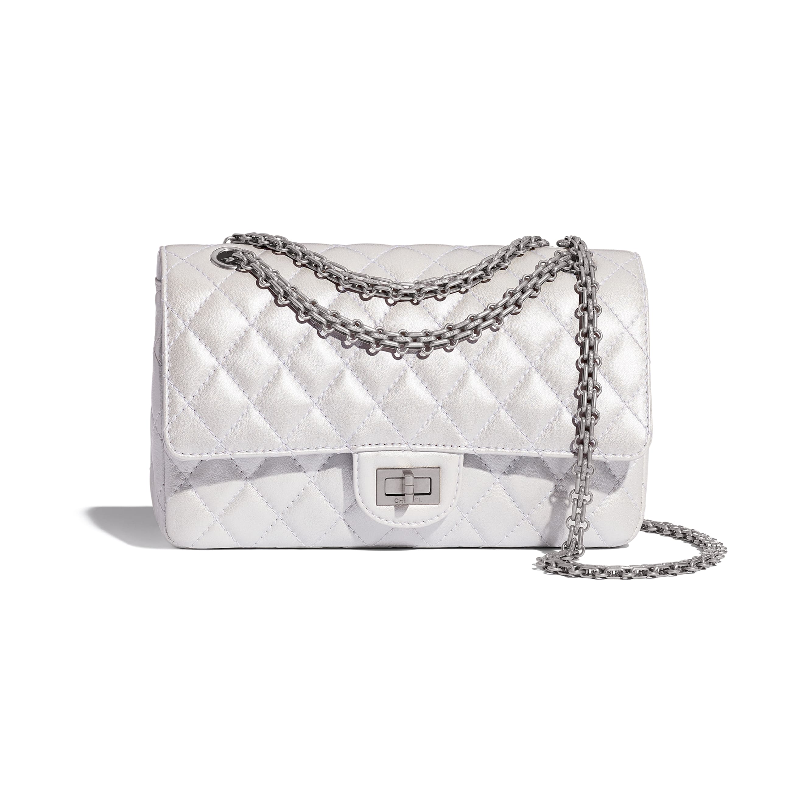 2.55 Handbag - White - Iridescent Lambskin & Silver-Tone Metal - CHANEL - Default view - see standard sized version