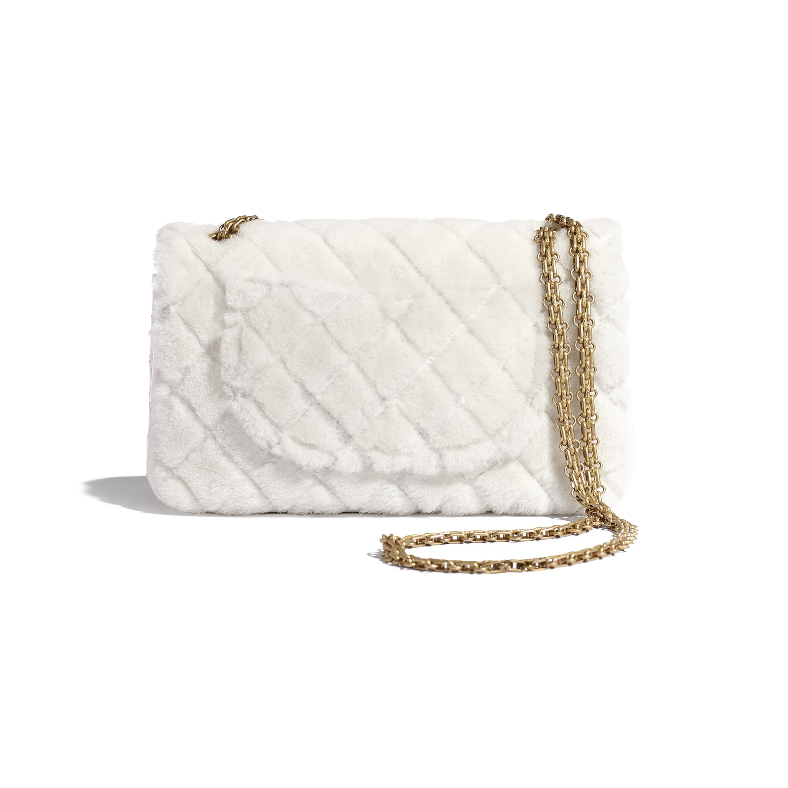 2.55 Handbag - White - Shearling Lambskin, Aged Calfskin & Gold-Tone Metal - CHANEL - Alternative view - see standard sized version