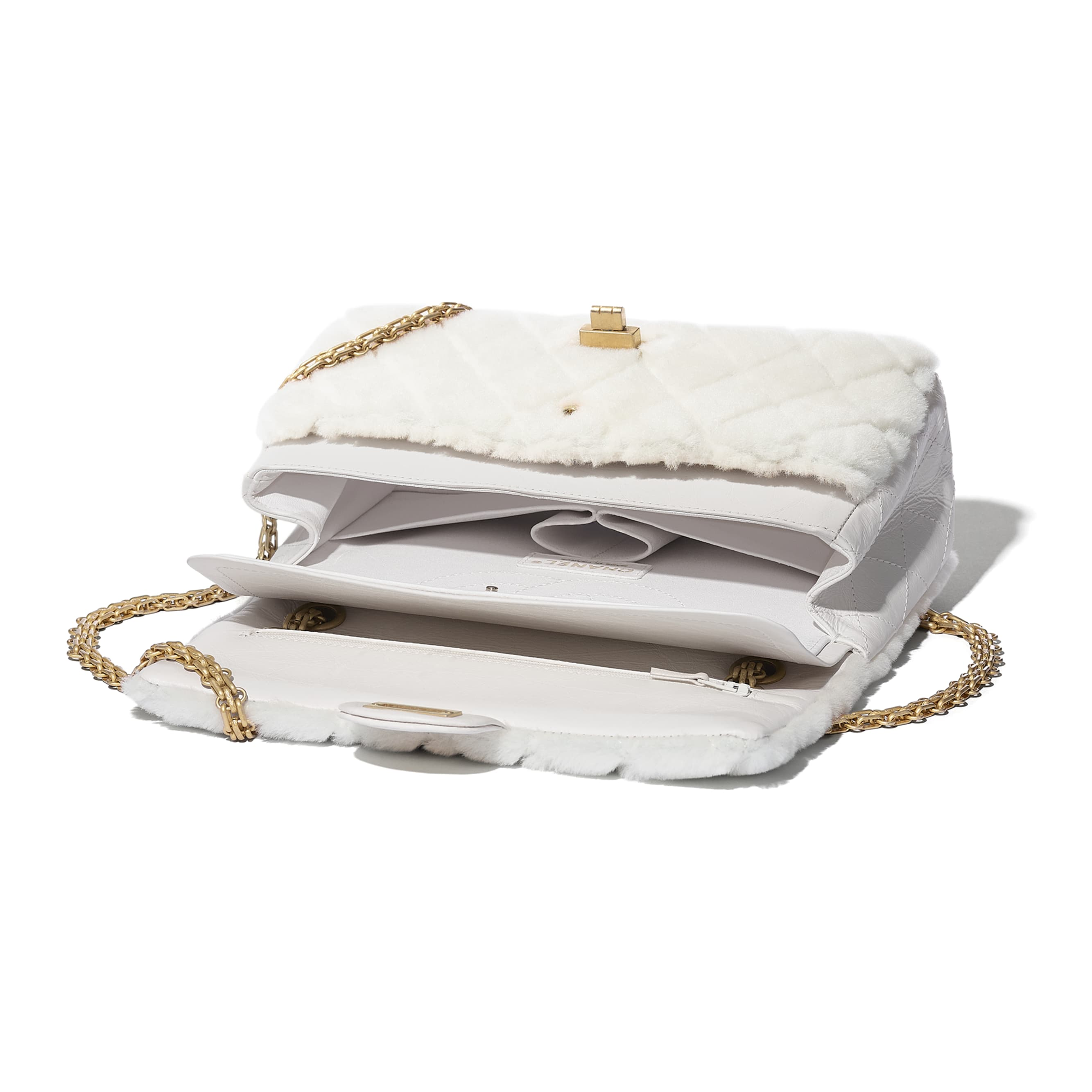 2.55 Handbag - White - Shearling Lambskin, Aged Calfskin & Gold-Tone Metal - CHANEL - Other view - see standard sized version