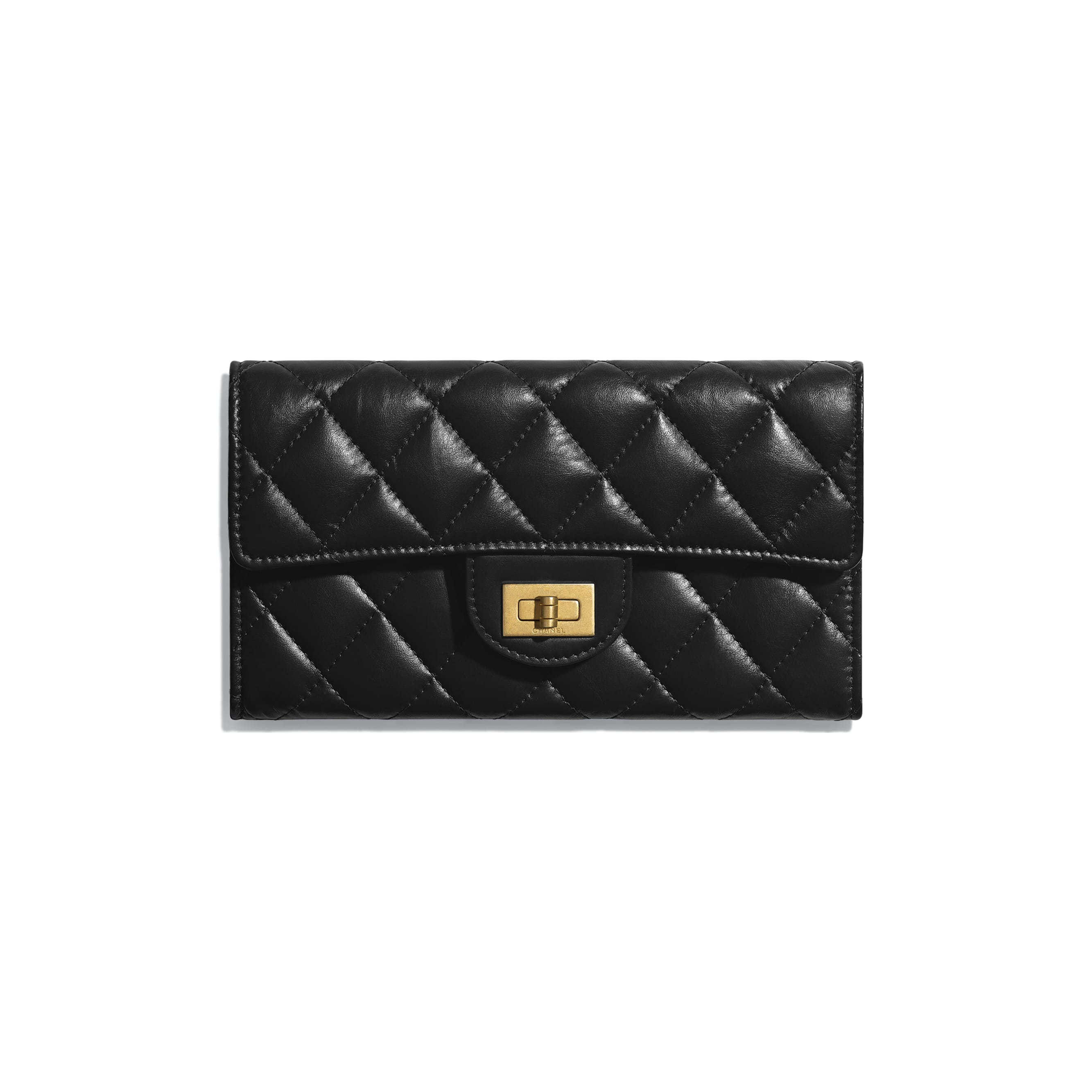 2.55 Long Flap Wallet - Black - Aged Calfskin & Gold-Tone Metal - Default view - see standard sized version