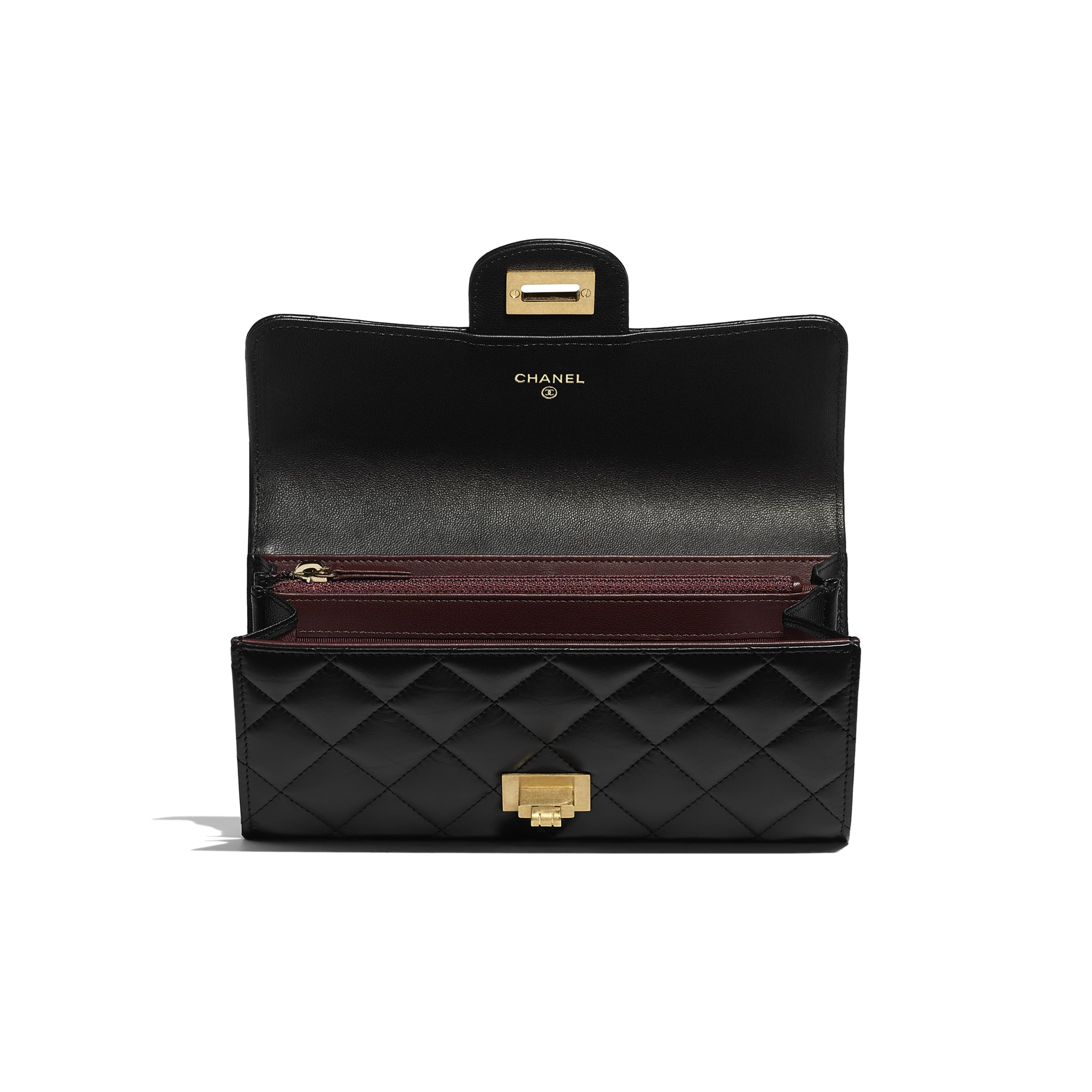 2.55 Long Flap Wallet - Black - Aged Calfskin & Gold-Tone Metal - Other view - see standard sized version