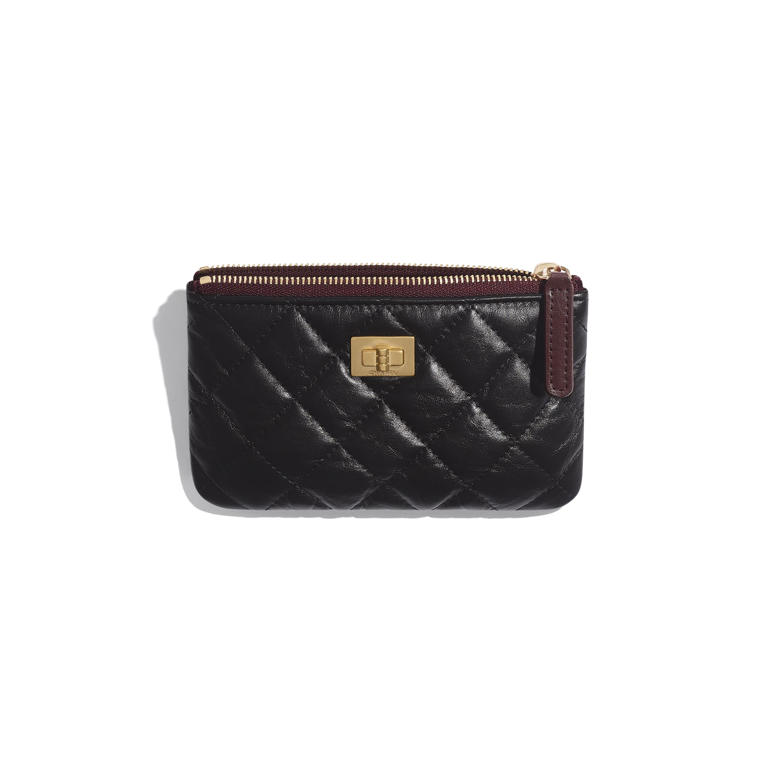 2.55 Mini Pouch - Black - Aged Calfskin & Gold-Tone Metal - CHANEL - Other view - see standard sized version