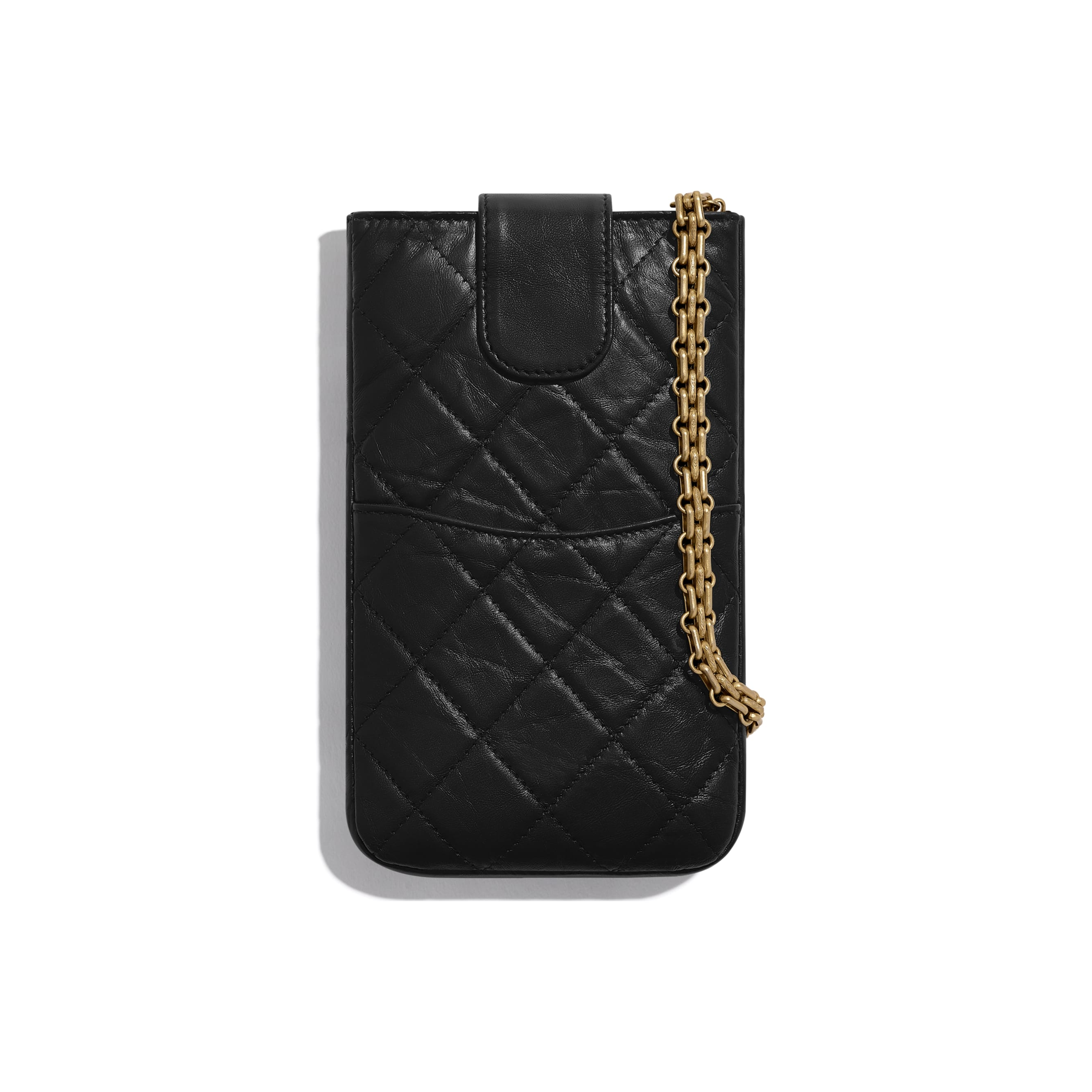 2.55 Phone Holder with Chain - Black - Aged Calfskin & Gold-Tone Metal - CHANEL - Alternative view - see standard sized version