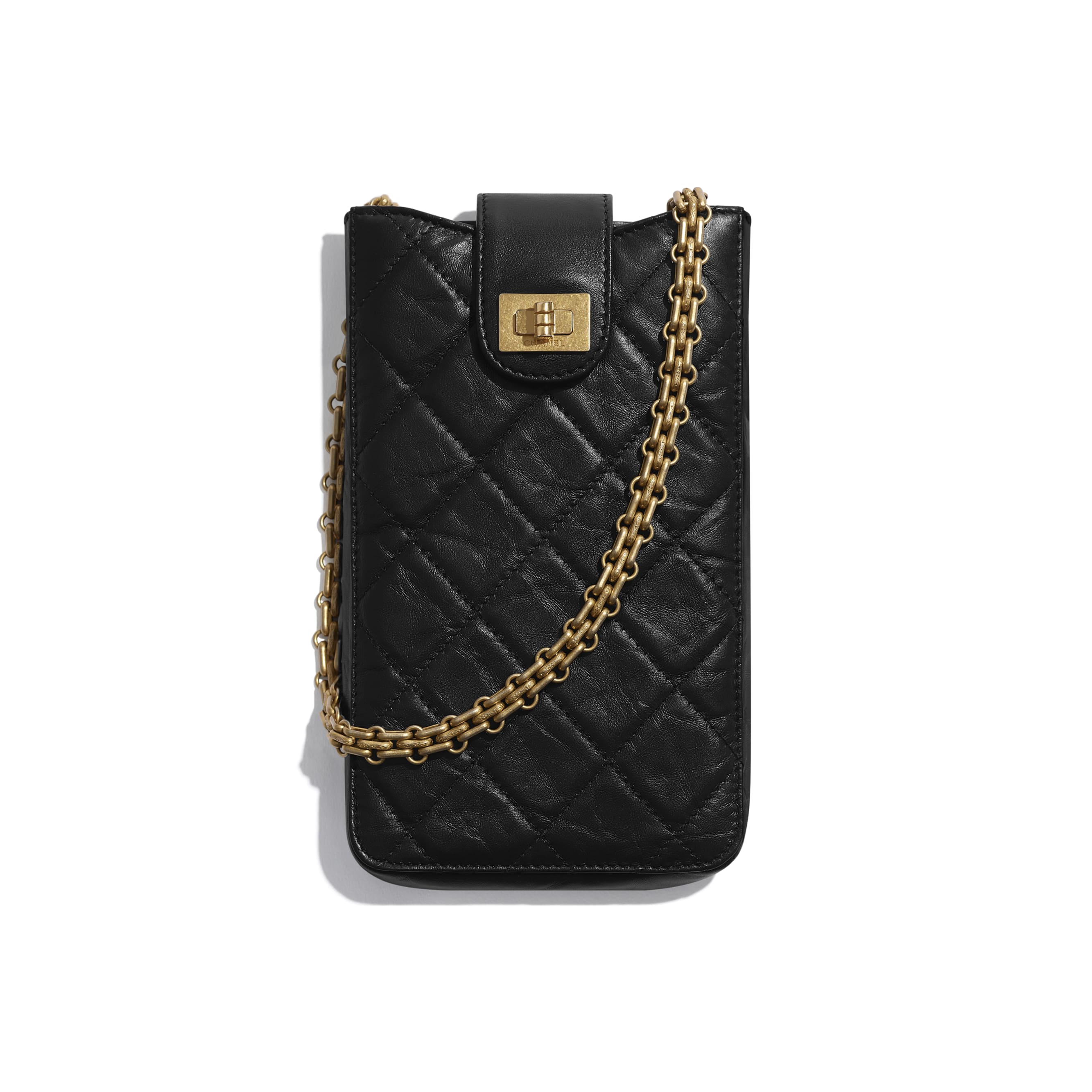2.55 Phone Holder with Chain - Black - Aged Calfskin & Gold-Tone Metal - CHANEL - Default view - see standard sized version