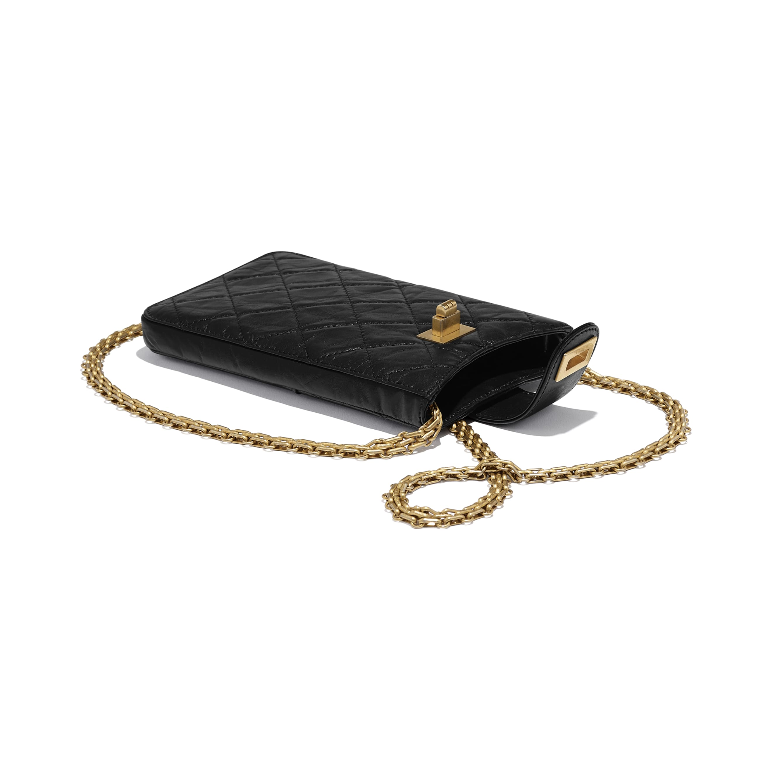 2.55 Phone Holder with Chain - Black - Aged Calfskin & Gold-Tone Metal - CHANEL - Extra view - see standard sized version