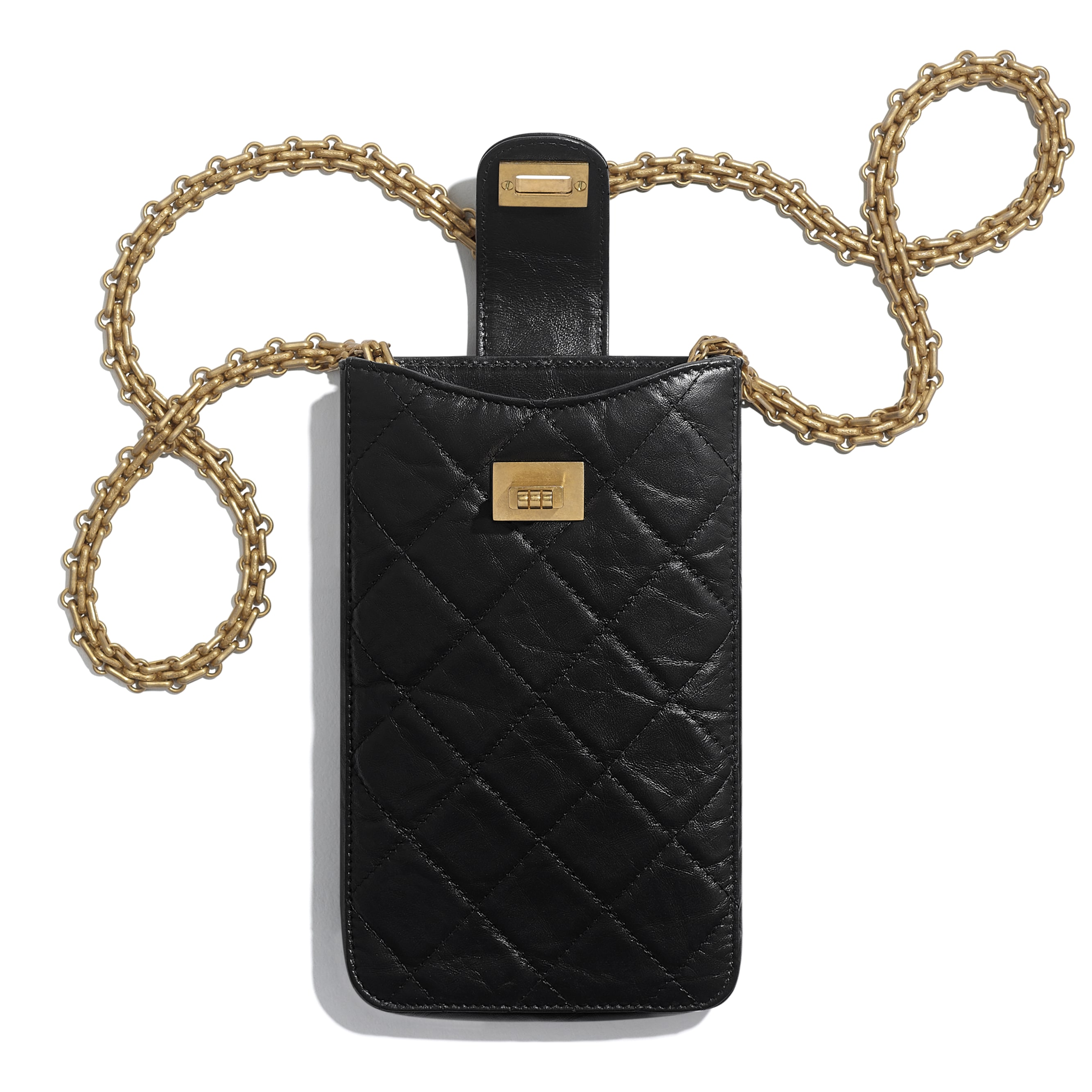 2.55 Phone Holder with Chain - Black - Aged Calfskin & Gold-Tone Metal - CHANEL - Other view - see standard sized version