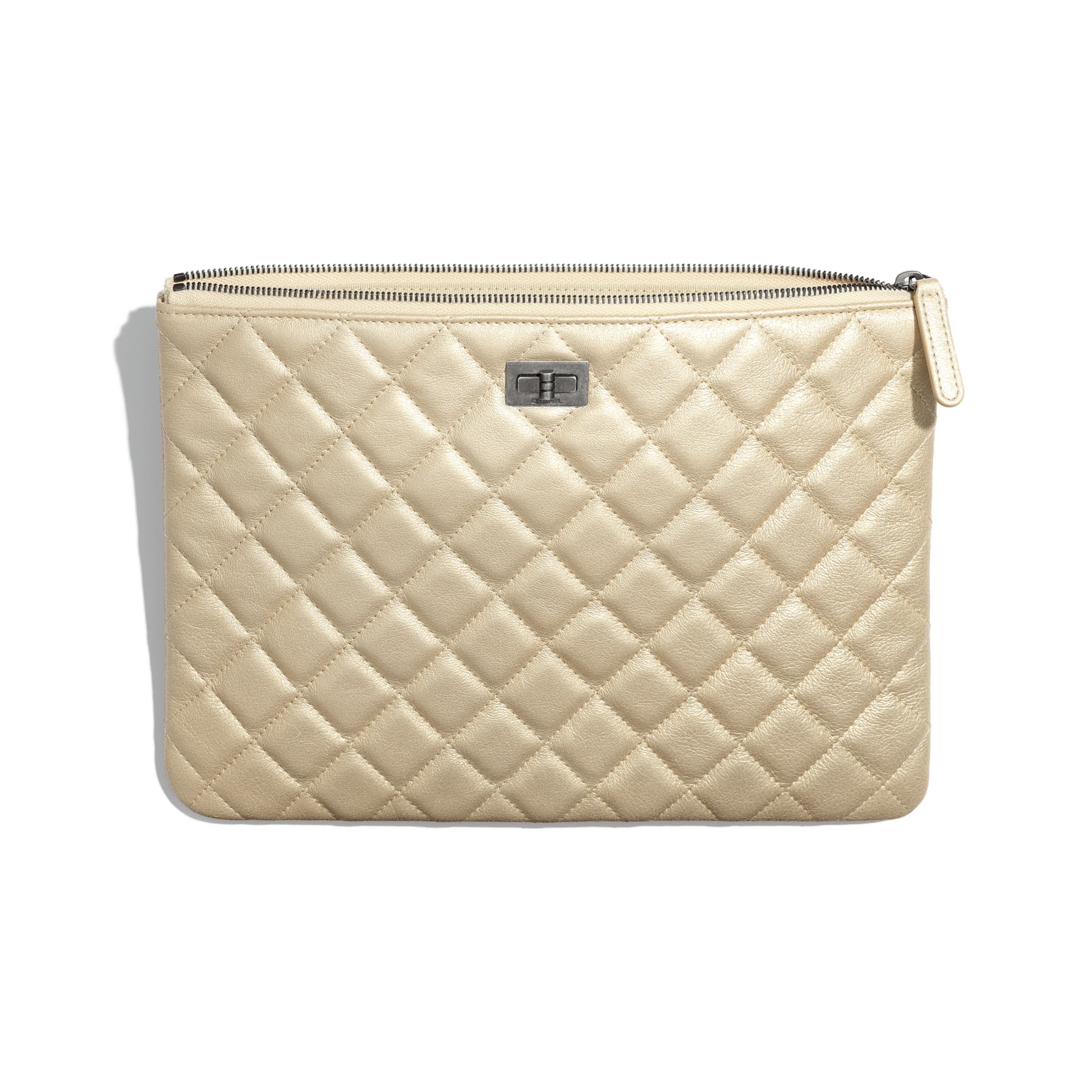 2.55 Pouch - Beige - Metallic Sheepskin & Ruthenium-Finish Metal - CHANEL - Other view - see standard sized version