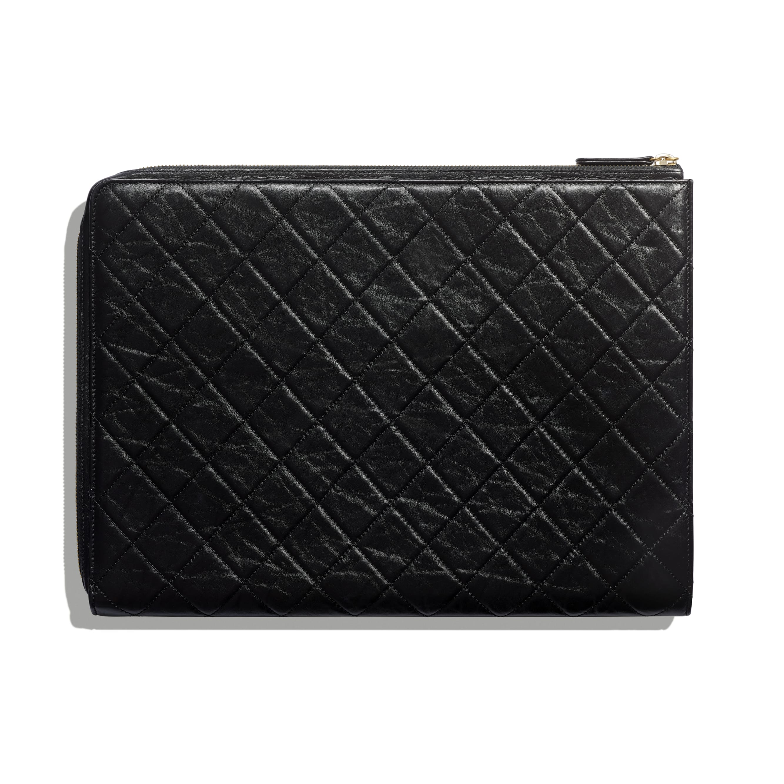 2.55 Pouch - Black - Aged Calfskin & Gold-Tone Metal - CHANEL - Alternative view - see standard sized version