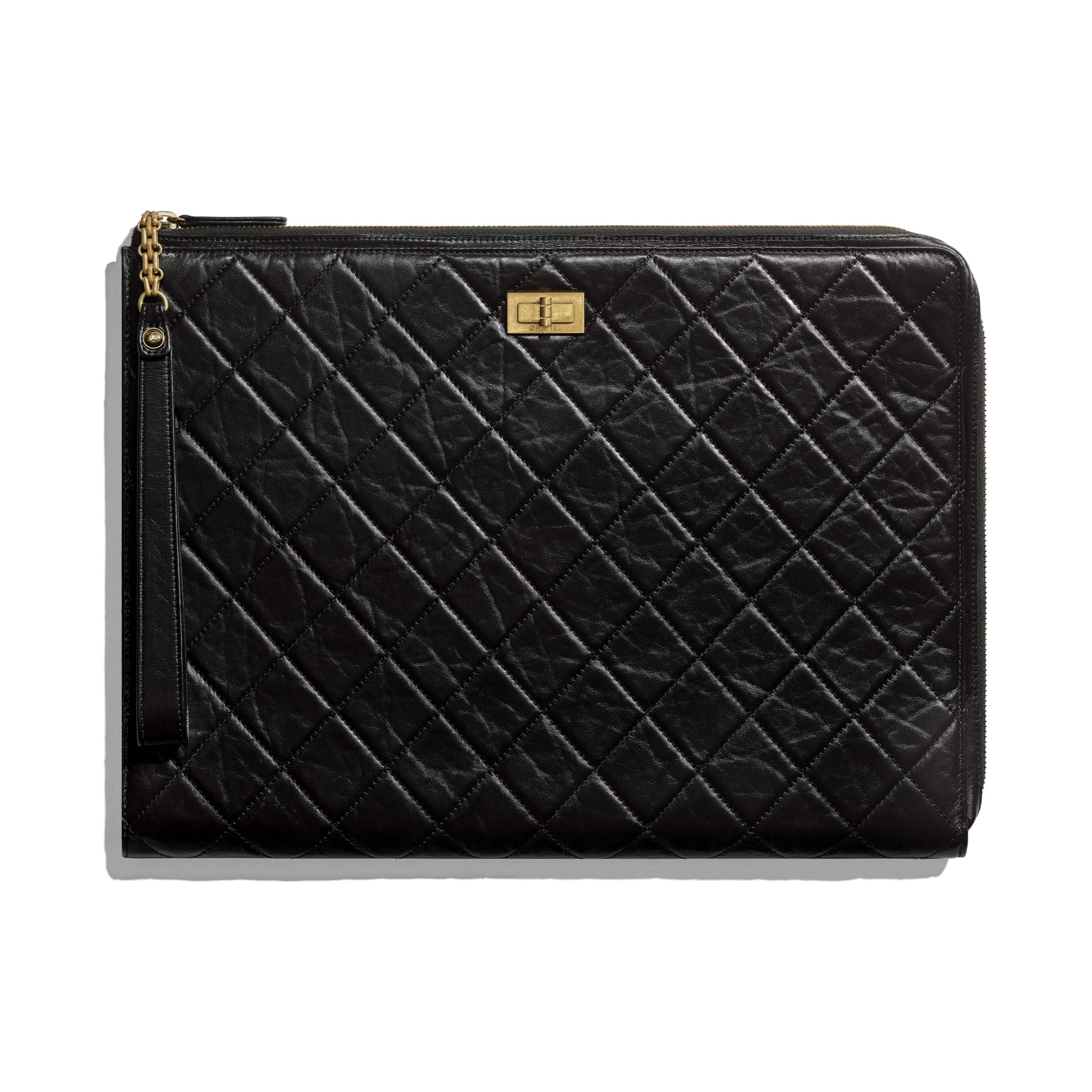 2.55 Pouch - Black - Aged Calfskin & Gold-Tone Metal - CHANEL - Default view - see standard sized version