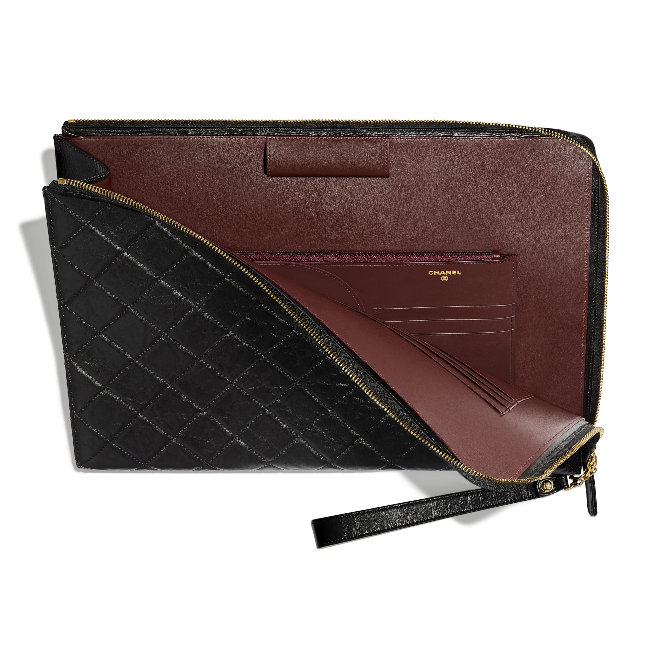 2.55 Pouch - Black - Aged Calfskin & Gold-Tone Metal - CHANEL - Other view - see standard sized version