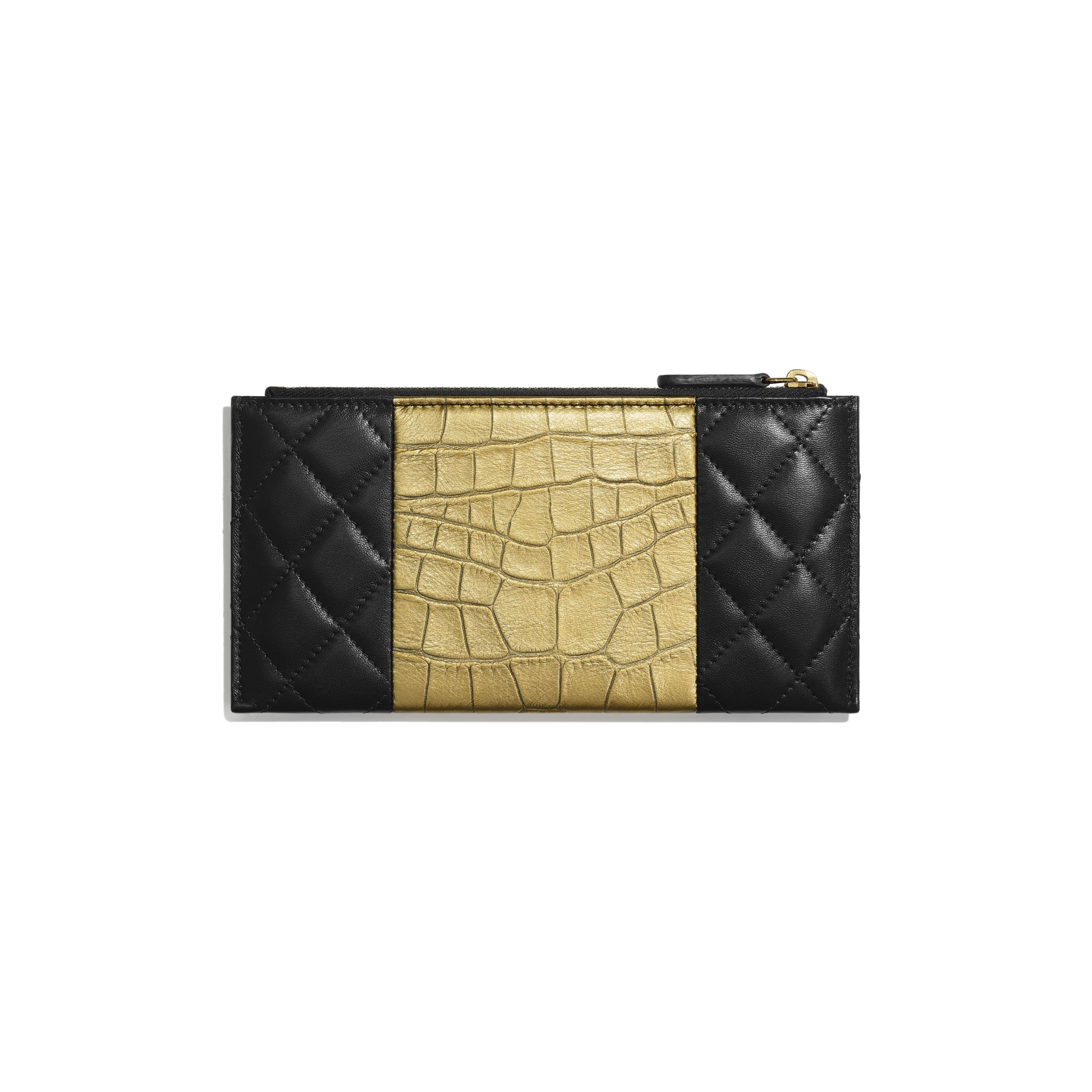 2.55 Pouch - Black & Gold - Lambskin, Crocodile Embossed Calfskin & Gold-Tone Metal - Alternative view - see standard sized version