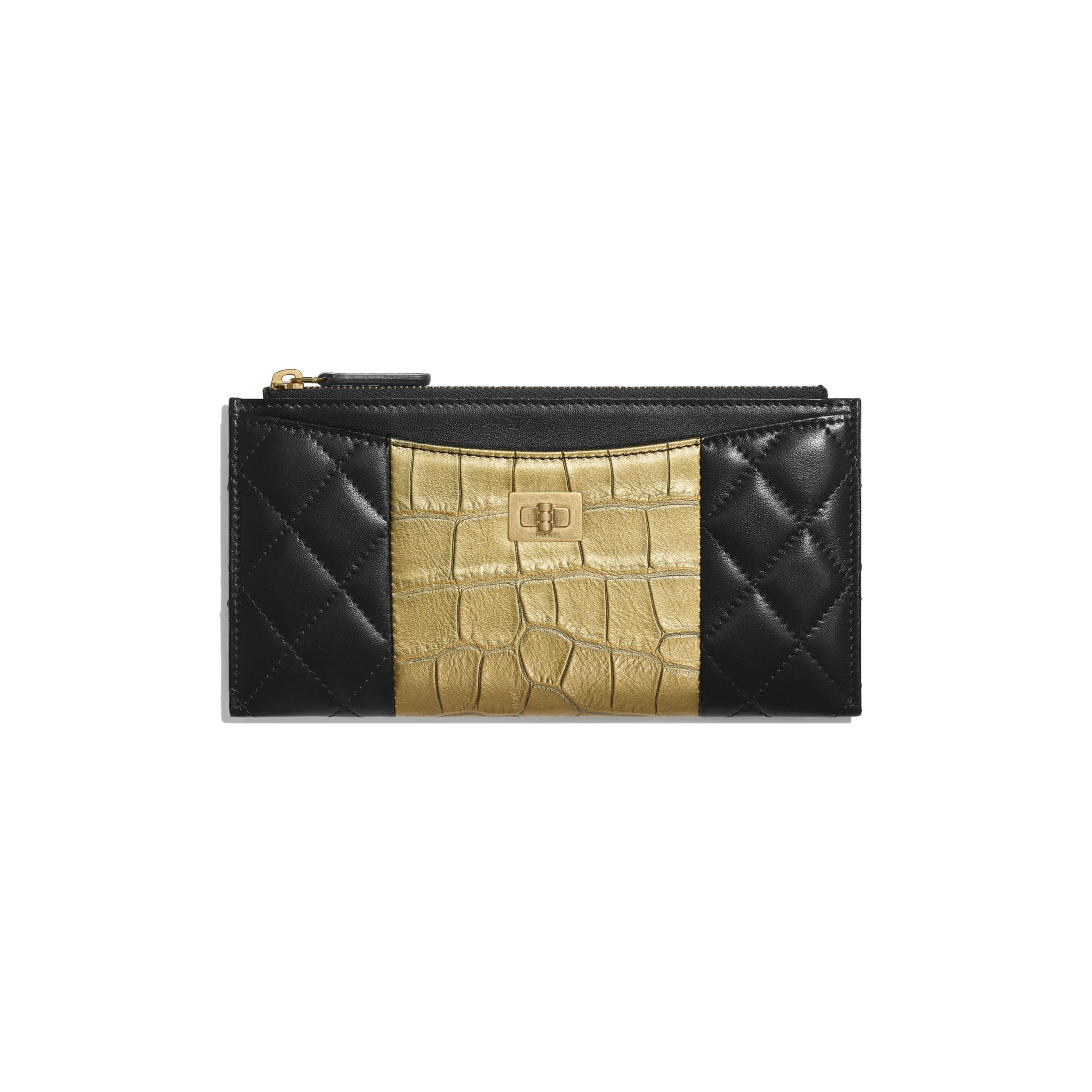 2.55 Pouch - Black & Gold - Lambskin, Crocodile Embossed Calfskin & Gold-Tone Metal - Default view - see standard sized version