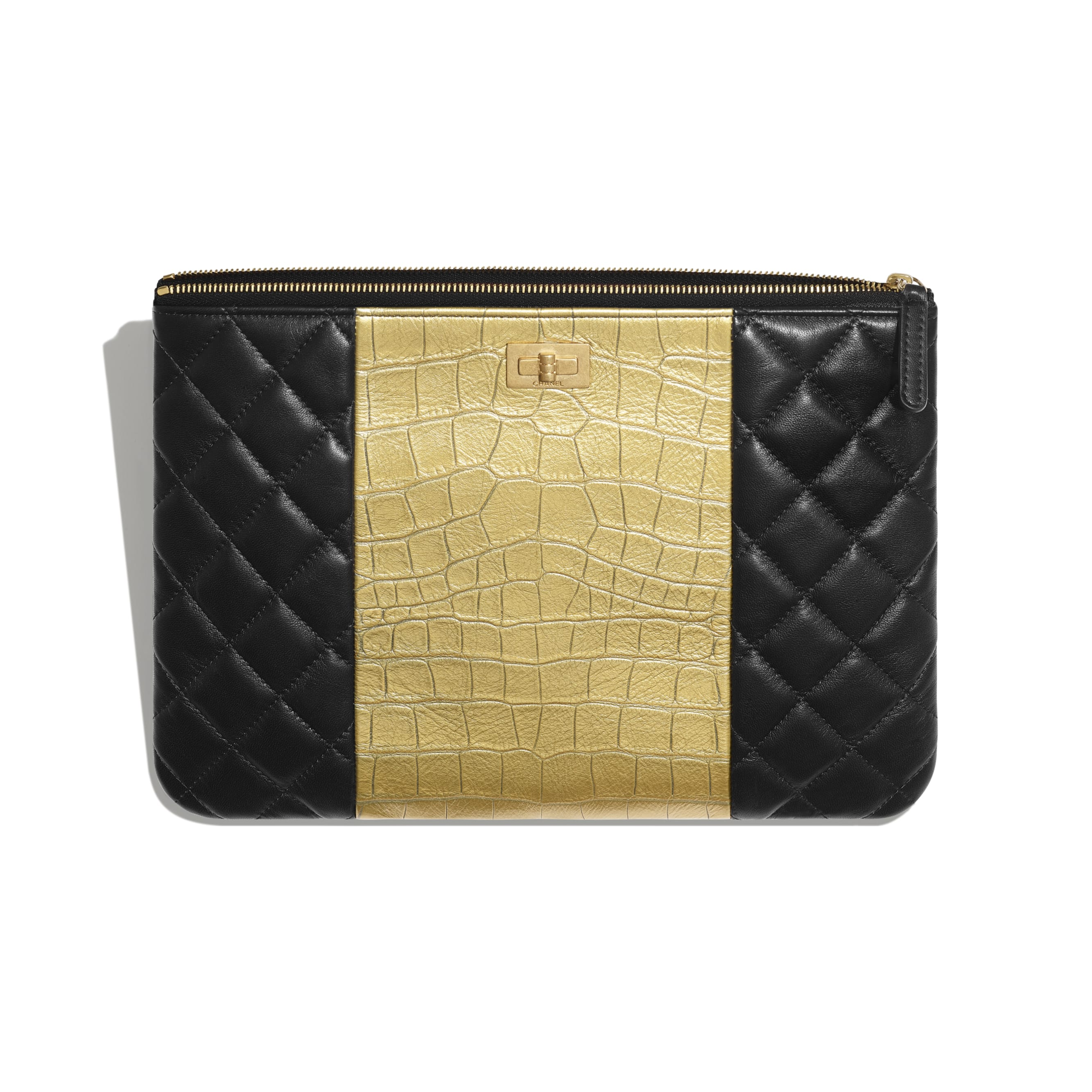 2.55 Pouch - Black & Gold - Lambskin, Crocodile Embossed Calfskin & Gold-Tone Metal - Other view - see standard sized version