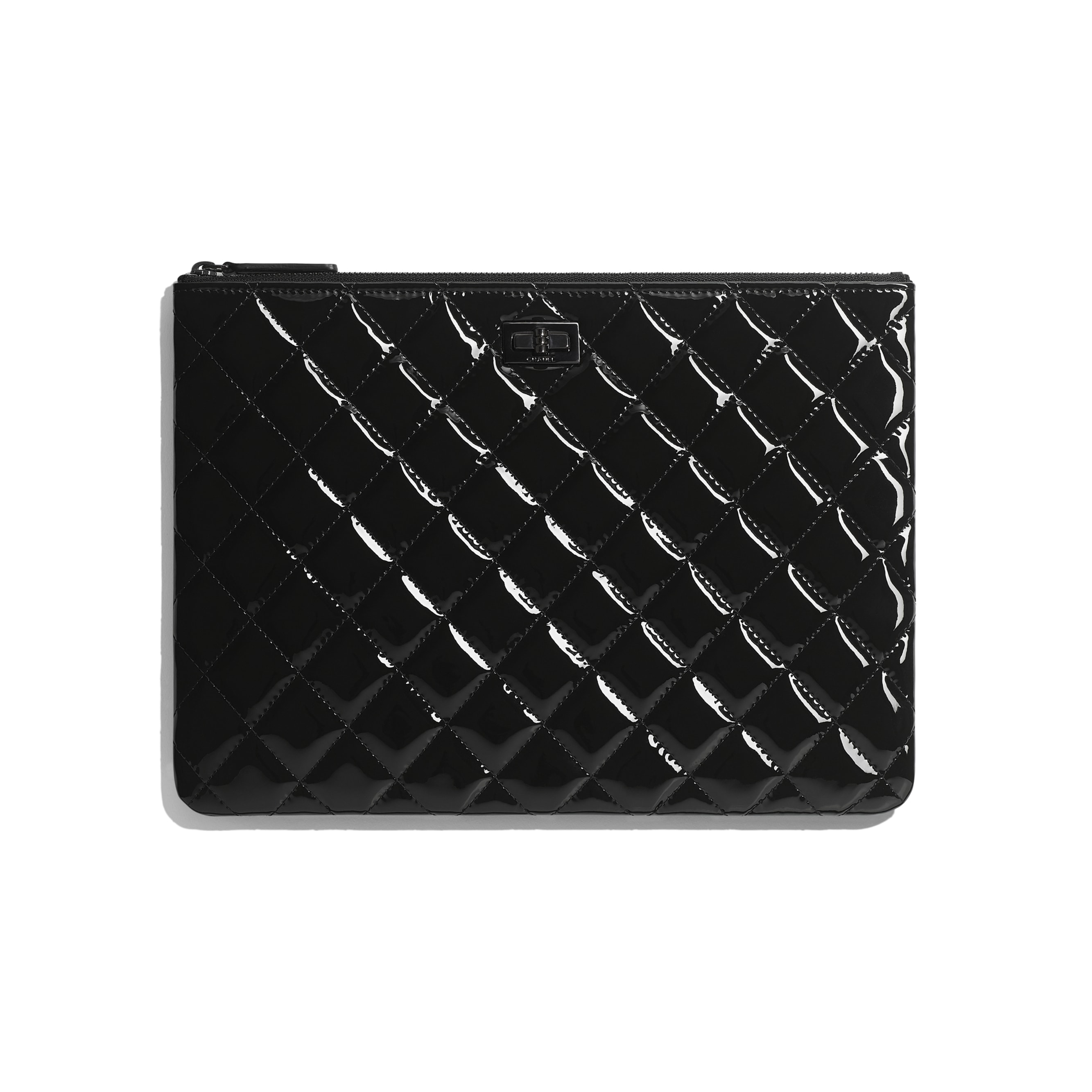 2.55 Pouch - Black - Patent Calfskin & Black Metal - CHANEL - Default view - see standard sized version