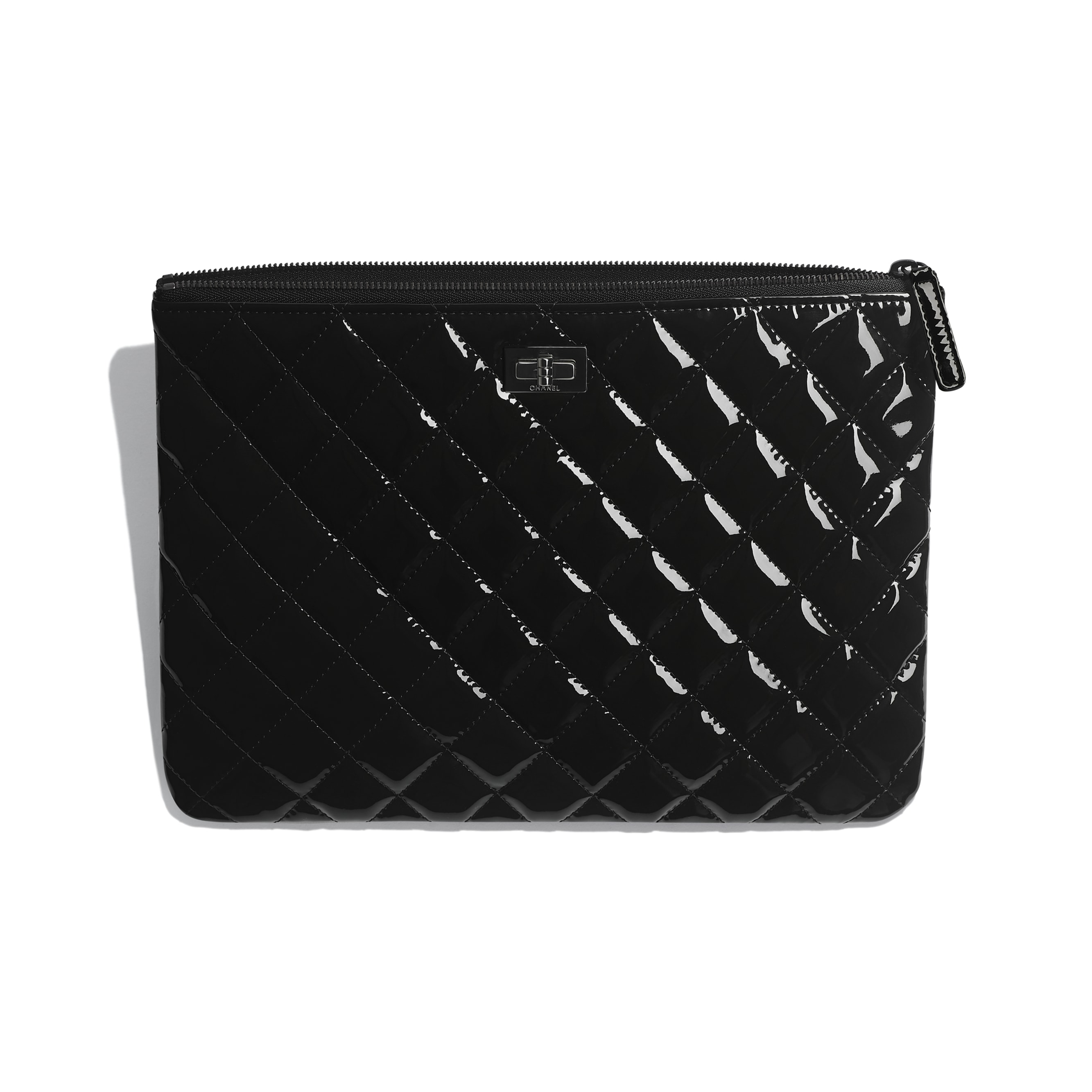 2.55 Pouch - Black - Patent Calfskin & Black Metal - CHANEL - Other view - see standard sized version