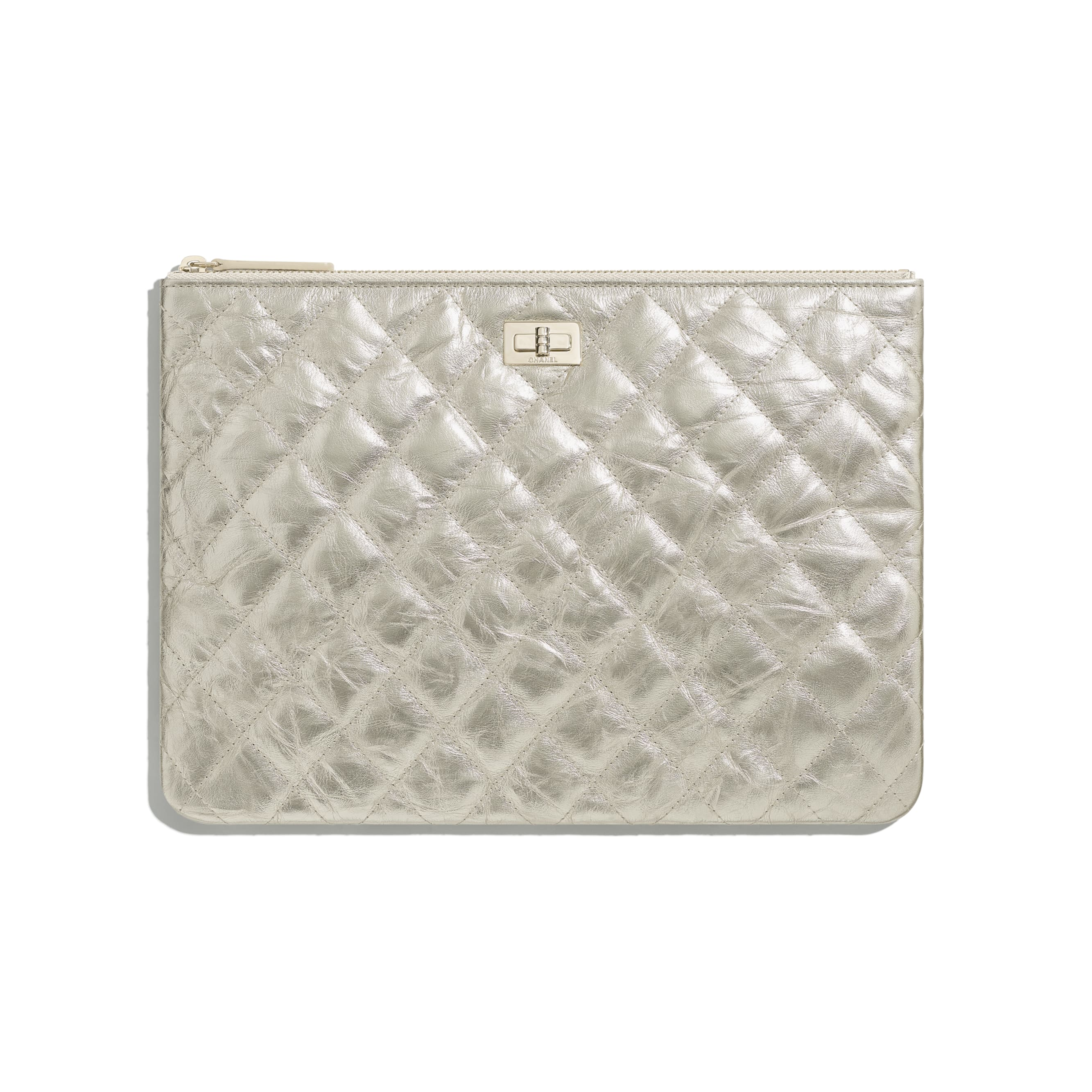 2.55 Pouch - Light Gold - Metallic Crumpled Calfskin & Gold-Tone Metal - CHANEL - Default view - see standard sized version