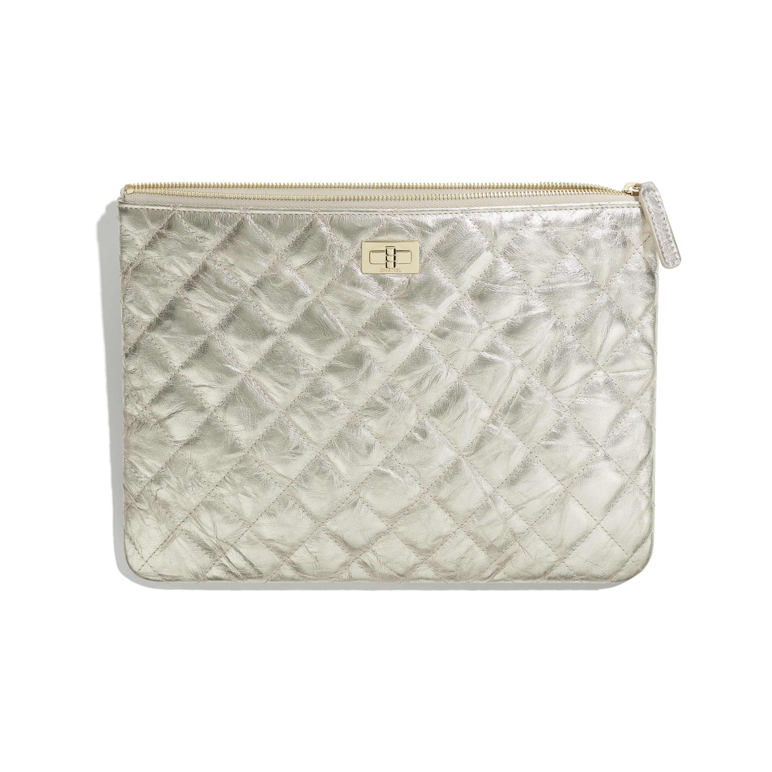 2.55 Pouch - Light Gold - Metallic Crumpled Calfskin & Gold-Tone Metal - CHANEL - Other view - see standard sized version