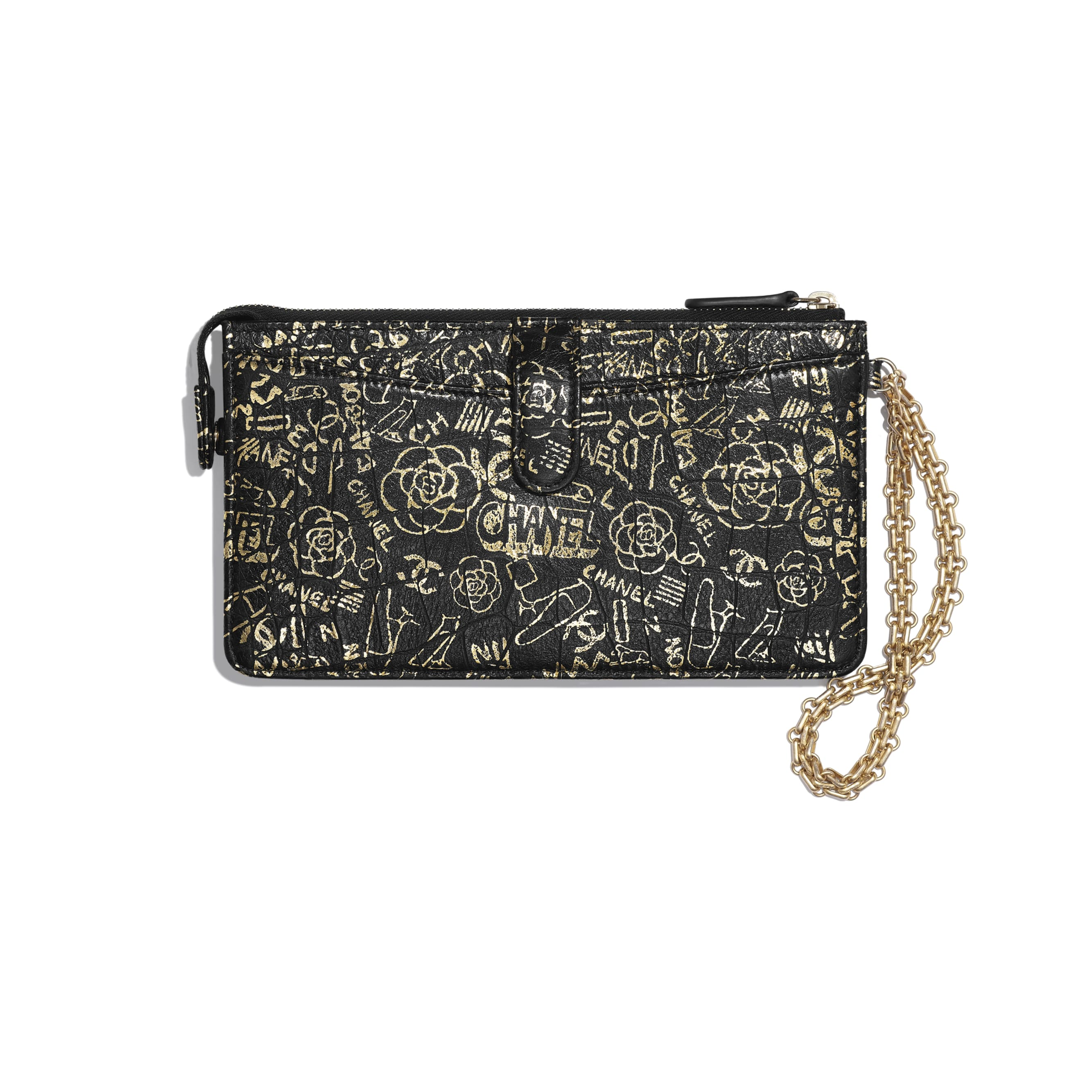 2.55 Pouch With Handle - Black & Gold - Crocodile Embossed Printed Leather & Gold-Tone Metal - Alternative view - see standard sized version