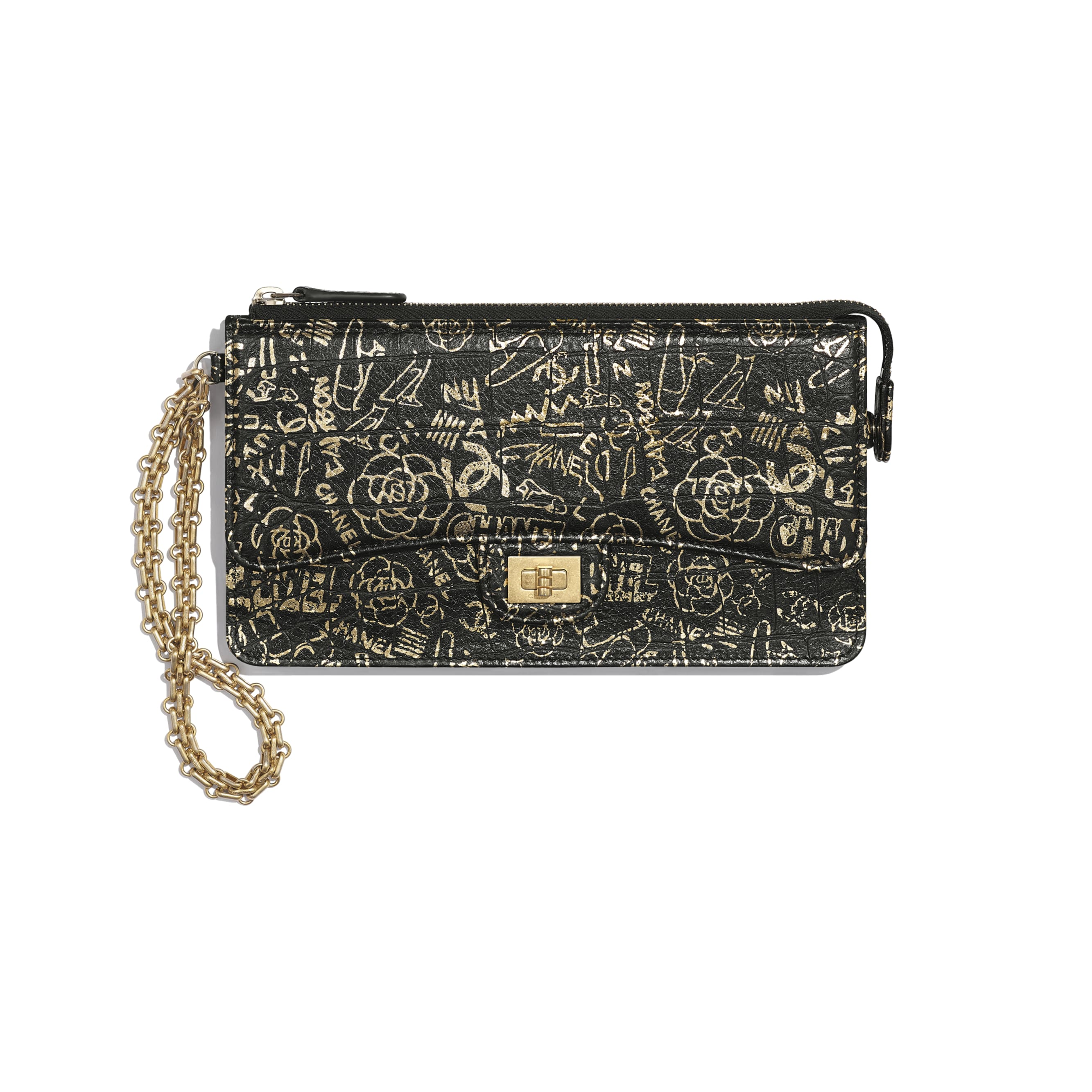 2.55 Pouch With Handle - Black & Gold - Crocodile Embossed Printed Leather & Gold-Tone Metal - Default view - see standard sized version