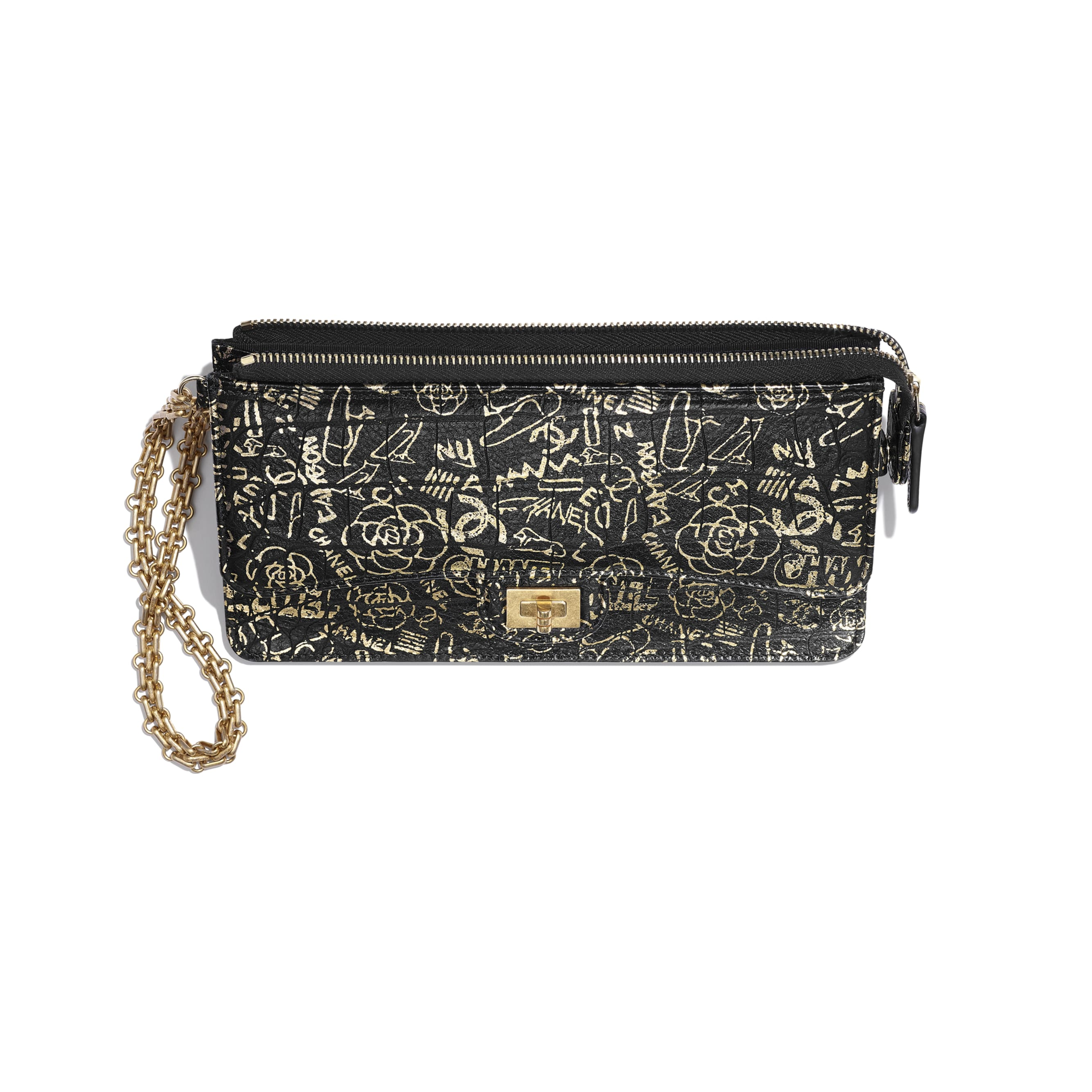 2.55 Pouch With Handle - Black & Gold - Crocodile Embossed Printed Leather & Gold-Tone Metal - Other view - see standard sized version