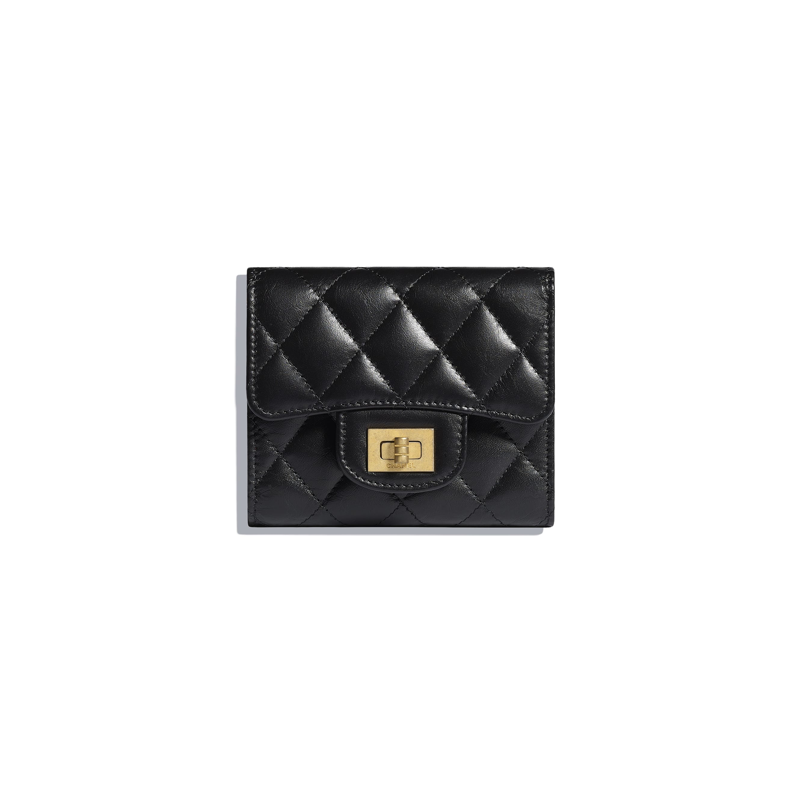 2.55 Small Flap Wallet - Black - Aged Calfskin & Gold-Tone Metal - Default view - see standard sized version
