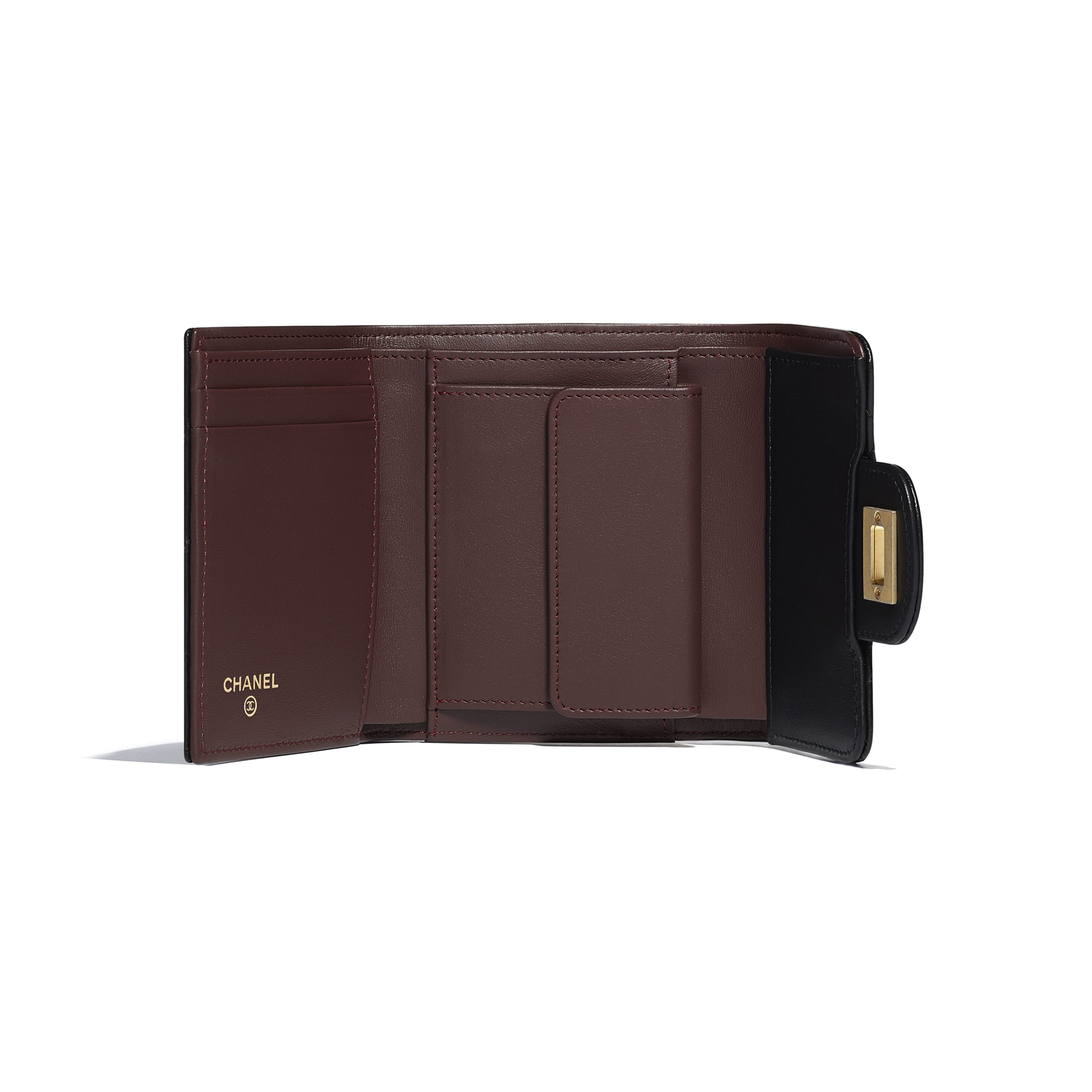 2.55 Small Flap Wallet - Black - Aged Calfskin & Gold-Tone Metal - Other view - see standard sized version