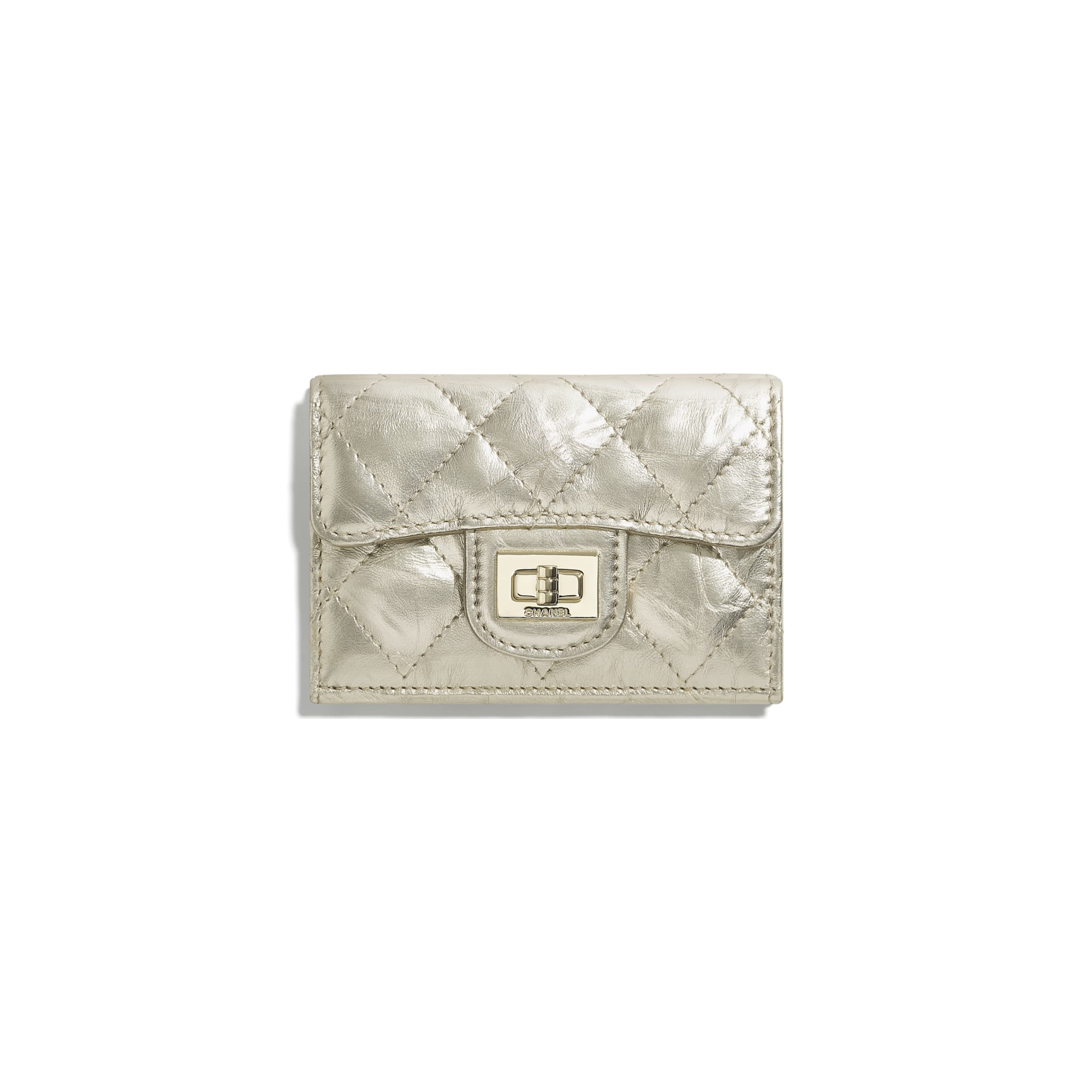 2.55 Small Flap Wallet - Light Gold - Metallic Crumpled Calfskin & Gold-Tone Metal - CHANEL - Default view - see standard sized version
