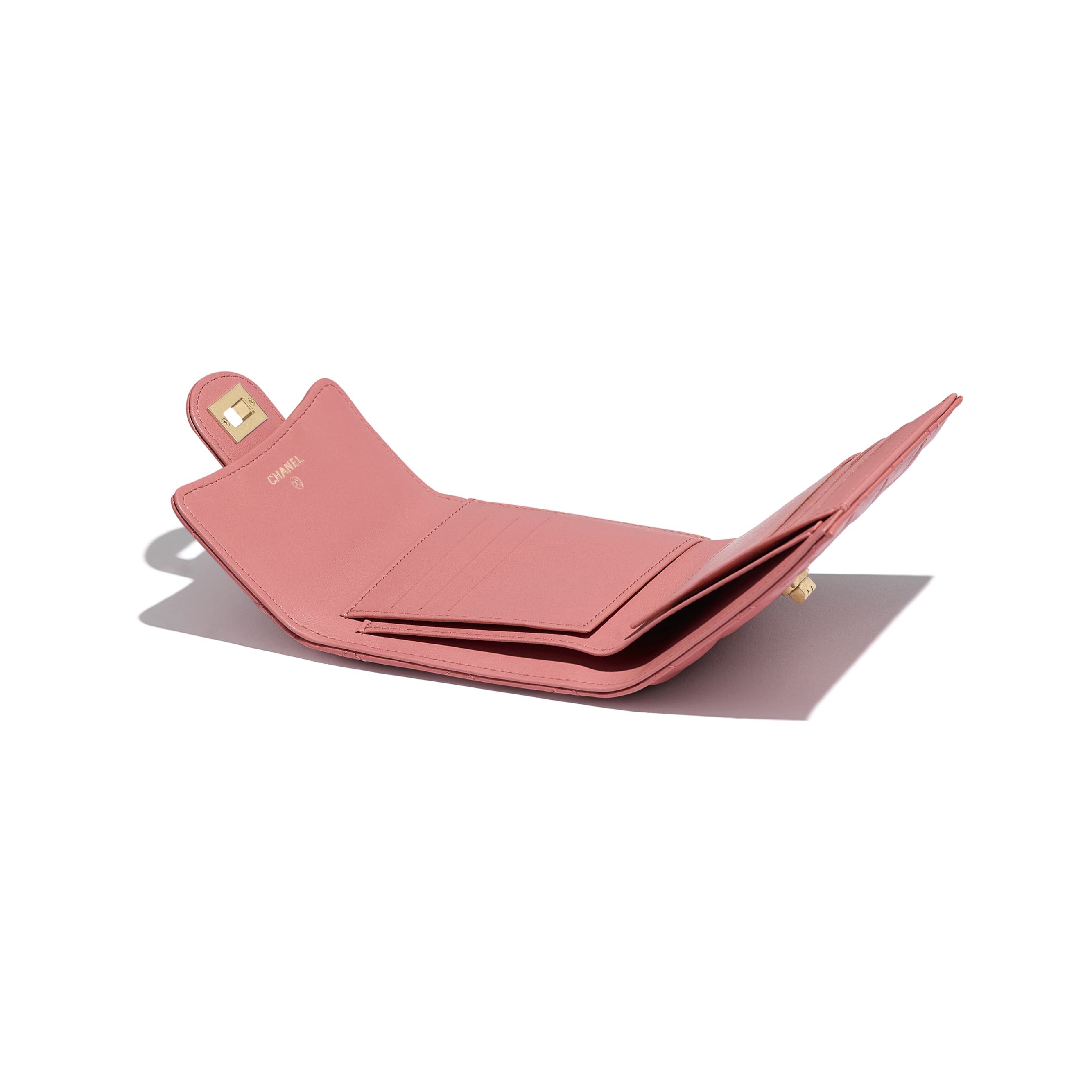 2.55 Small Flap Wallet - Pink - Aged Calfskin & Gold-Tone Metal - Extra view - see standard sized version