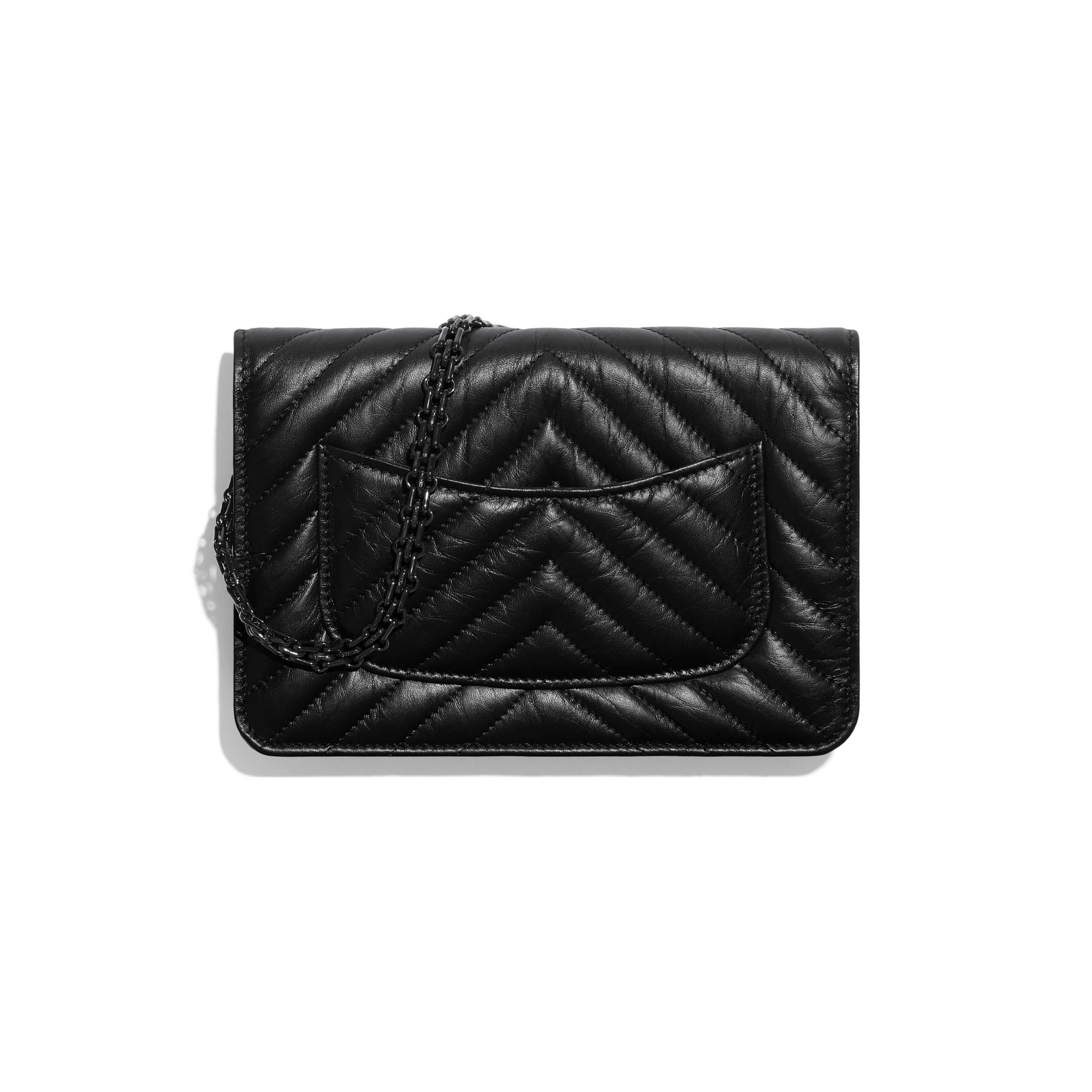 2.55 Wallet On Chain - Black - Aged Calfskin & Black Metal - CHANEL - Alternative view - see standard sized version