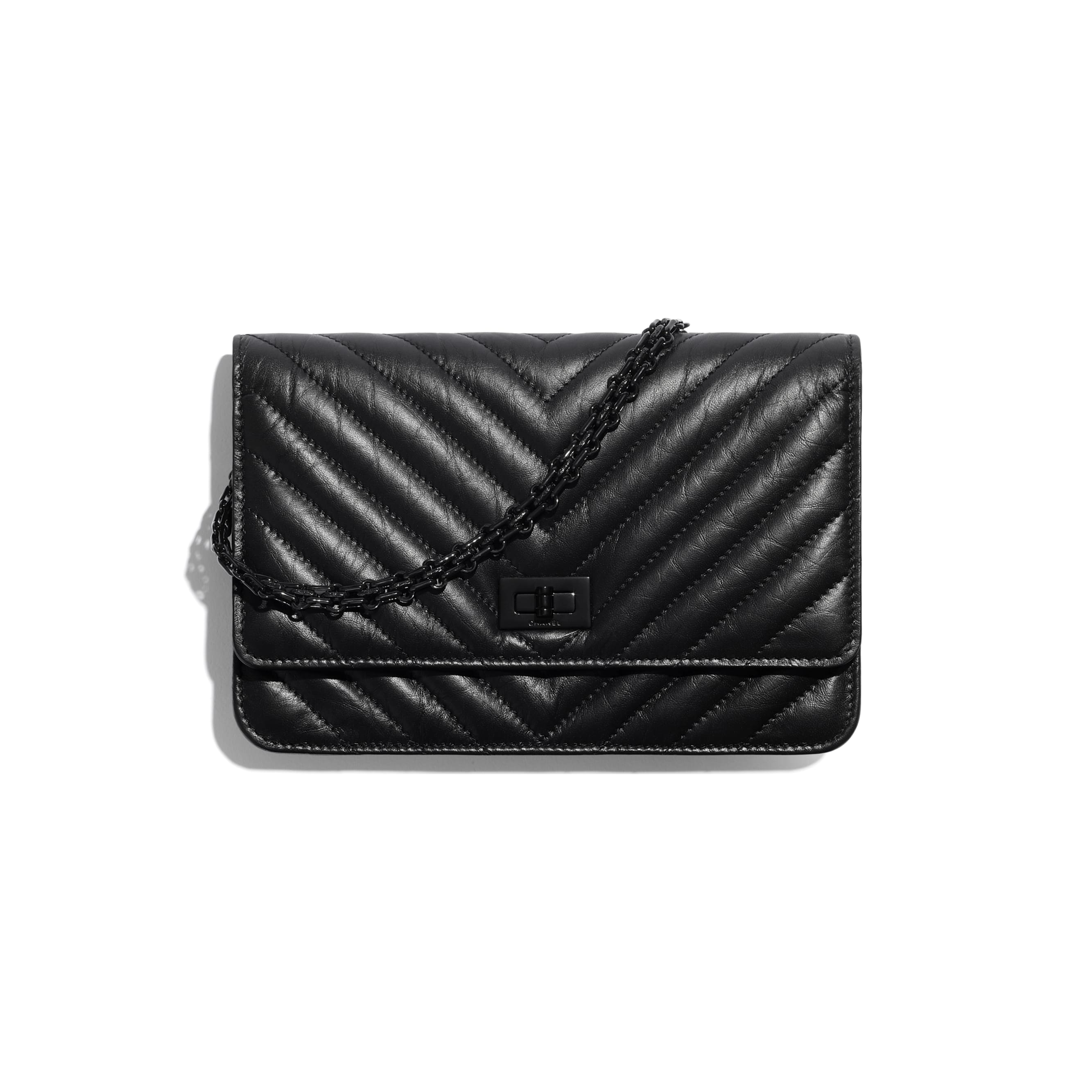 2.55 Wallet On Chain - Black - Aged Calfskin & Black Metal - CHANEL - Default view - see standard sized version
