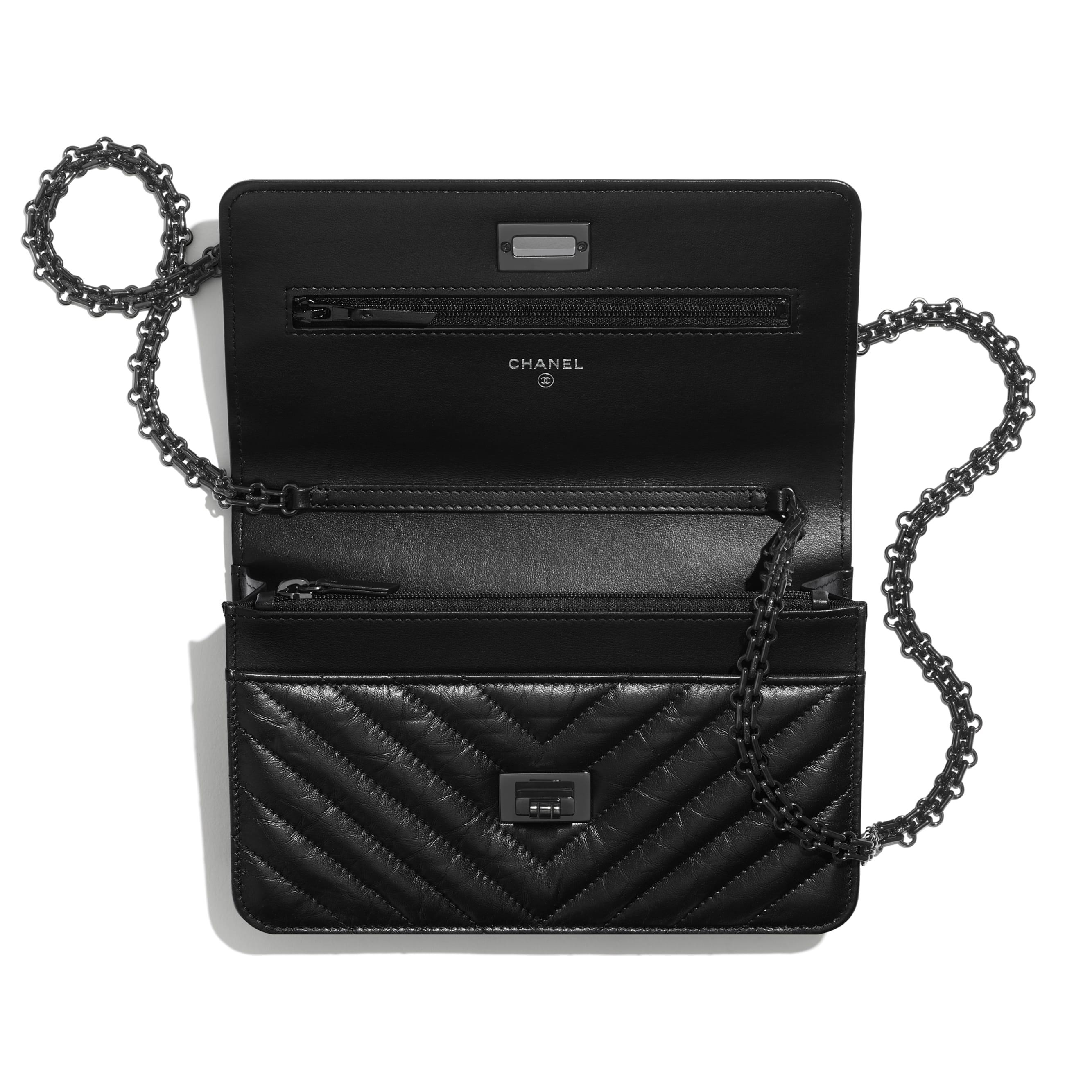2.55 Wallet On Chain - Black - Aged Calfskin & Black Metal - CHANEL - Other view - see standard sized version