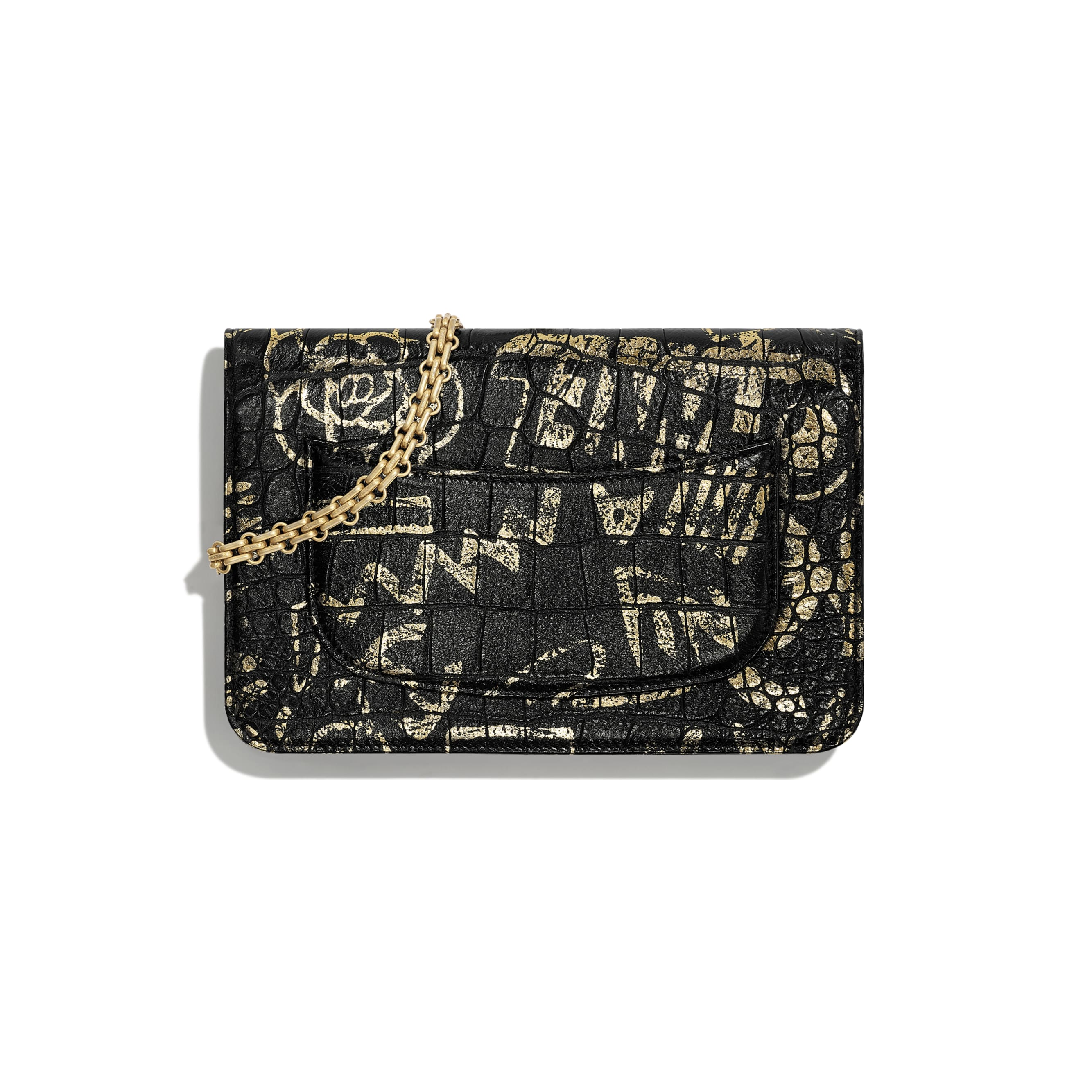 2.55 Wallet on Chain - Black & Gold - Crocodile Embossed Printed Leather & Gold-Tone Metal - Alternative view - see standard sized version
