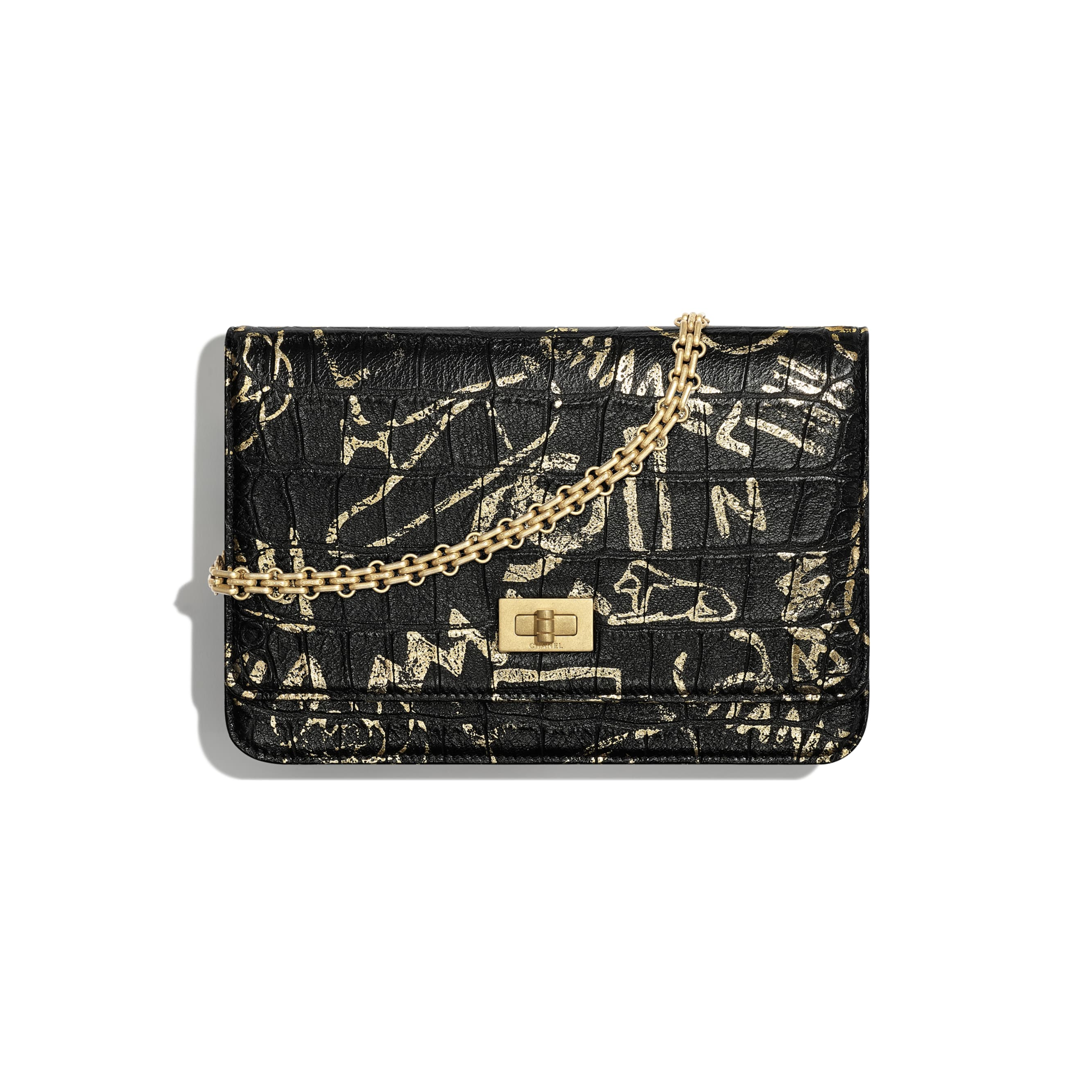 2.55 Wallet on Chain - Black & Gold - Crocodile Embossed Printed Leather & Gold-Tone Metal - Default view - see standard sized version